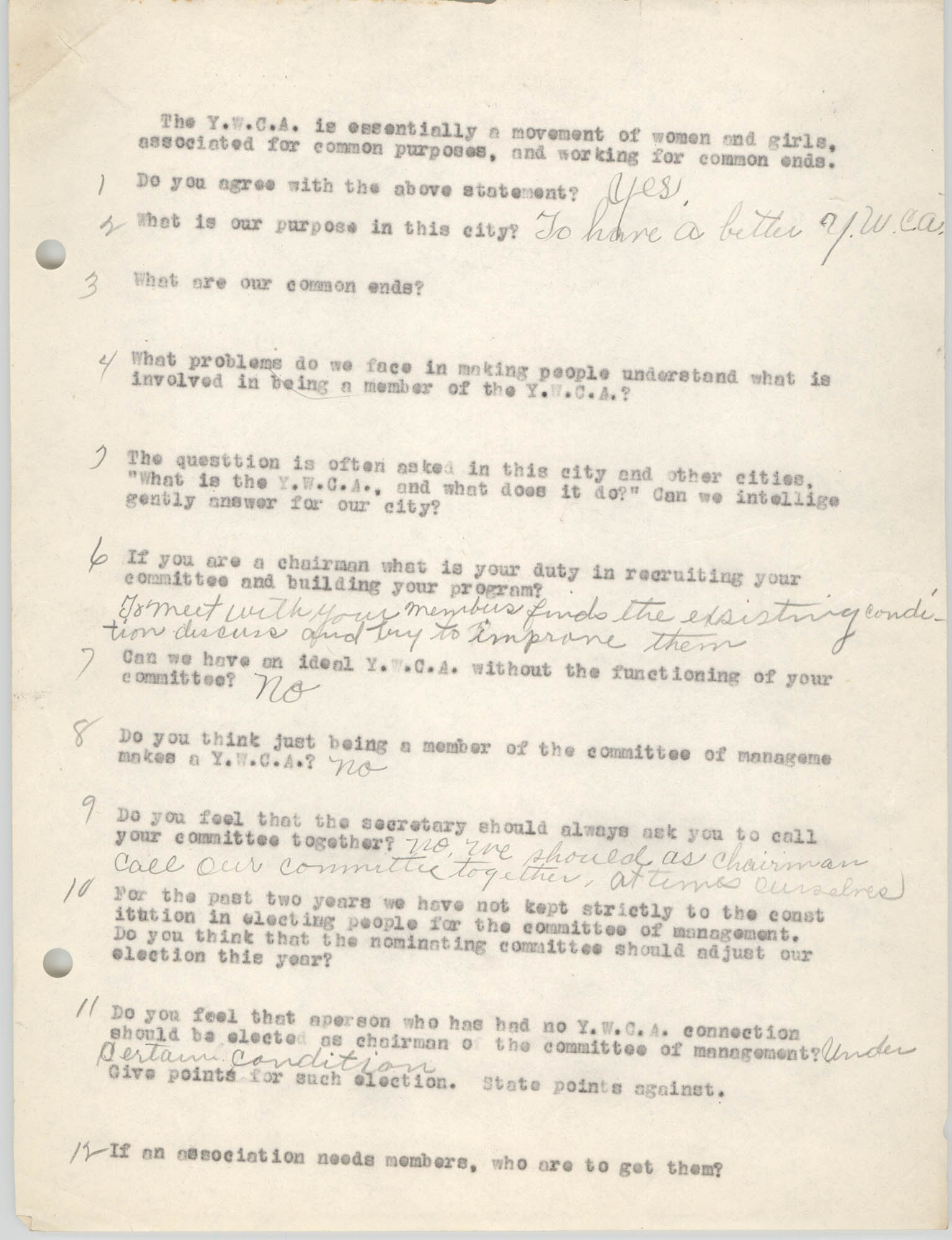 Coming Street Y.W.C.A., Completed Questionnaire Number 8, Page 1