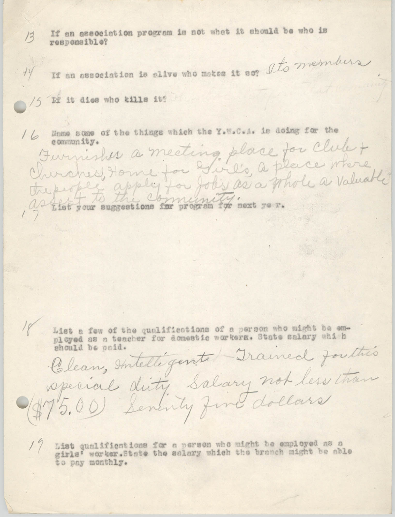 Coming Street Y.W.C.A., Completed Questionnaire Number 8, Page 2