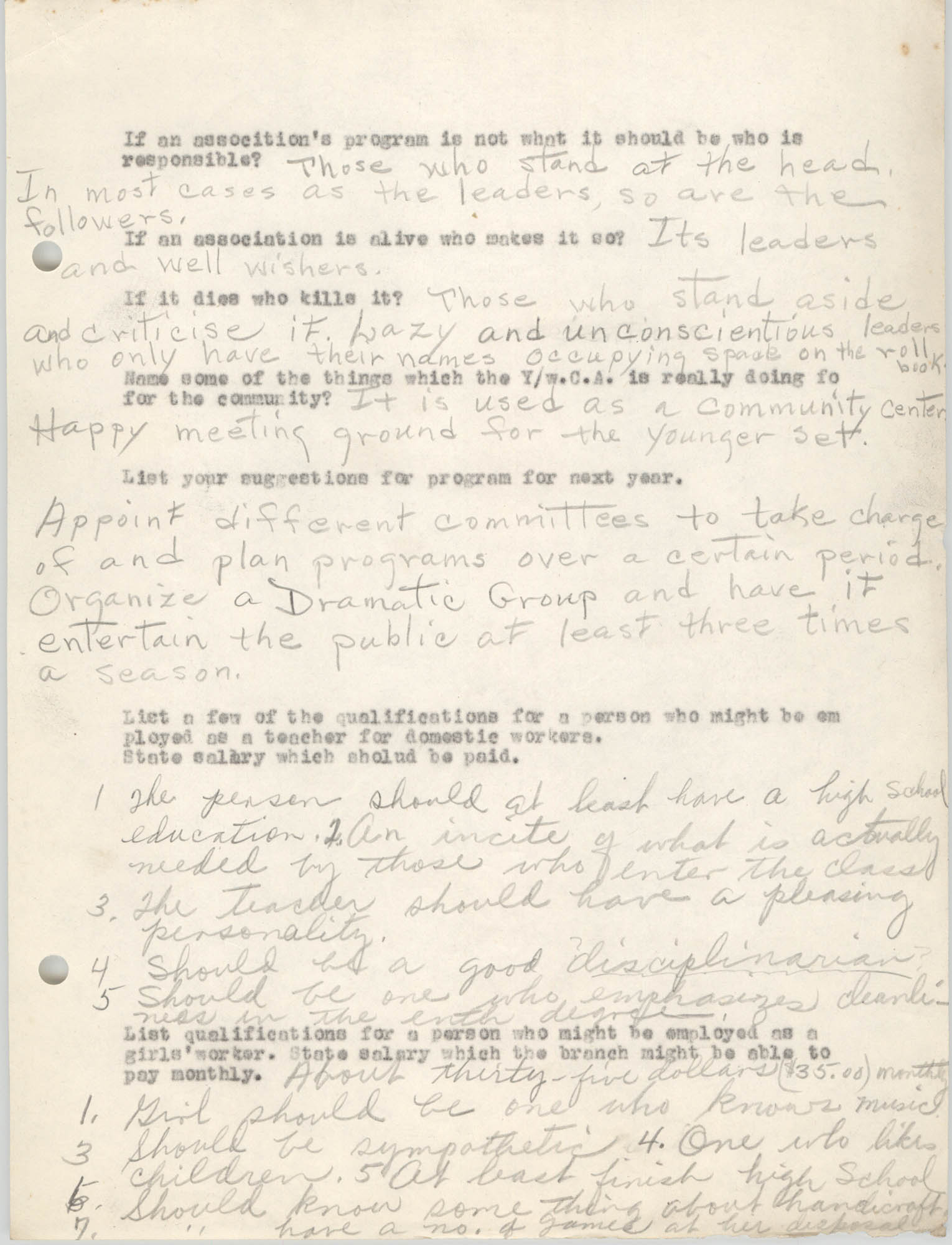 Coming Street Y.W.C.A., Completed Questionnaire Number 9, Page 2