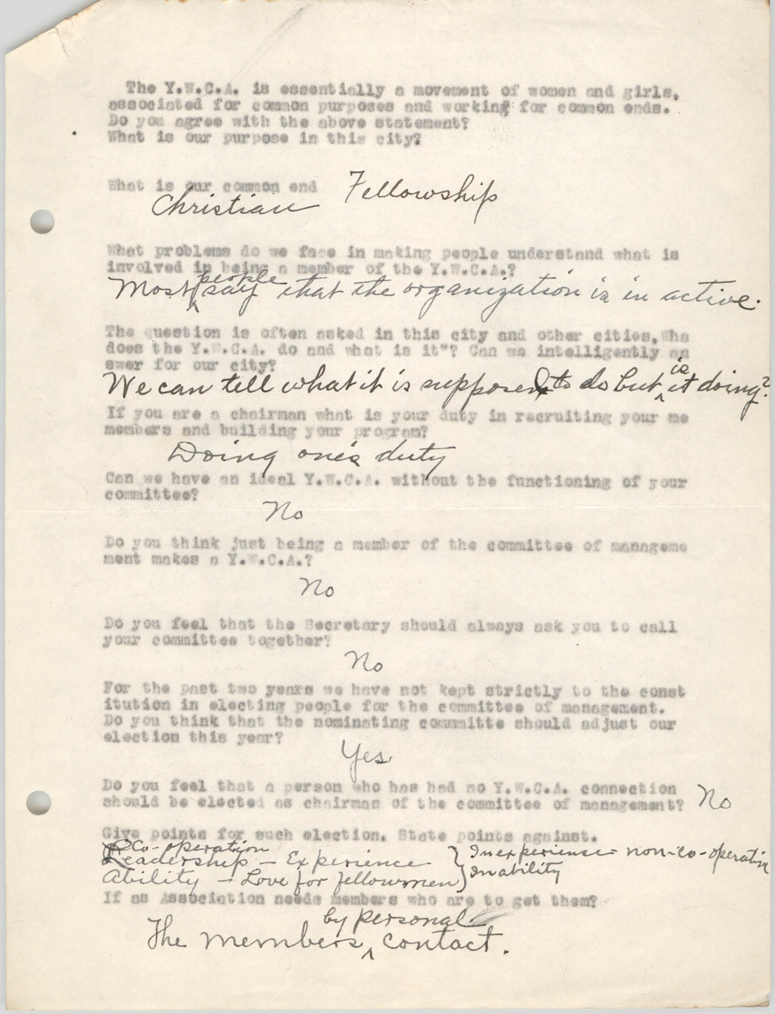 Coming Street Y.W.C.A., Completed Questionnaire Number 10, Page 1