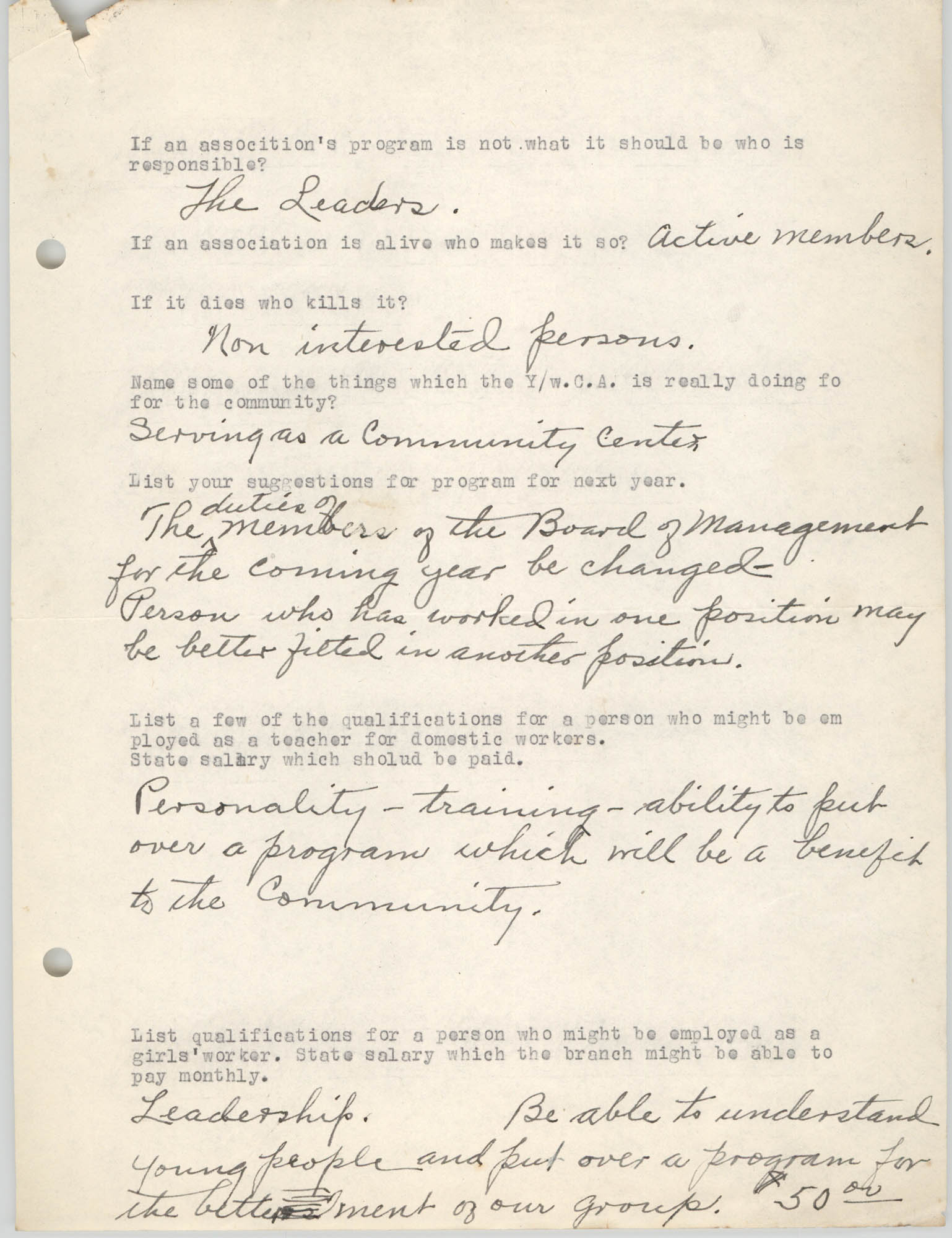 Coming Street Y.W.C.A., Completed Questionnaire Number 10, Page 2