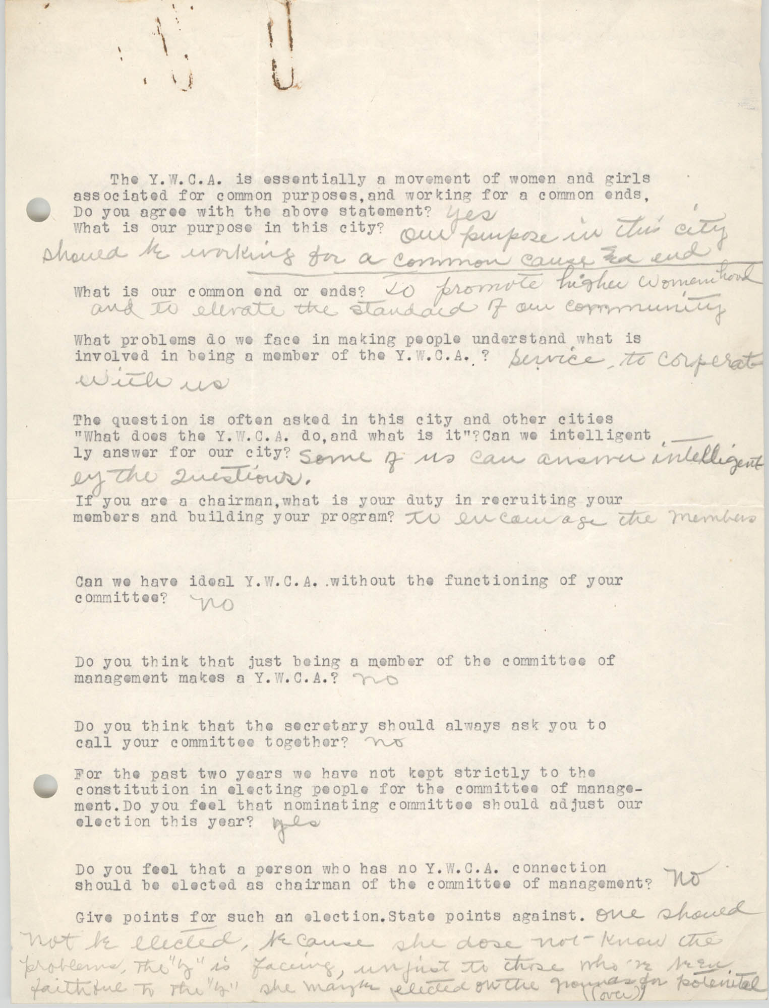Coming Street Y.W.C.A., Completed Questionnaire Number 11, Page 1