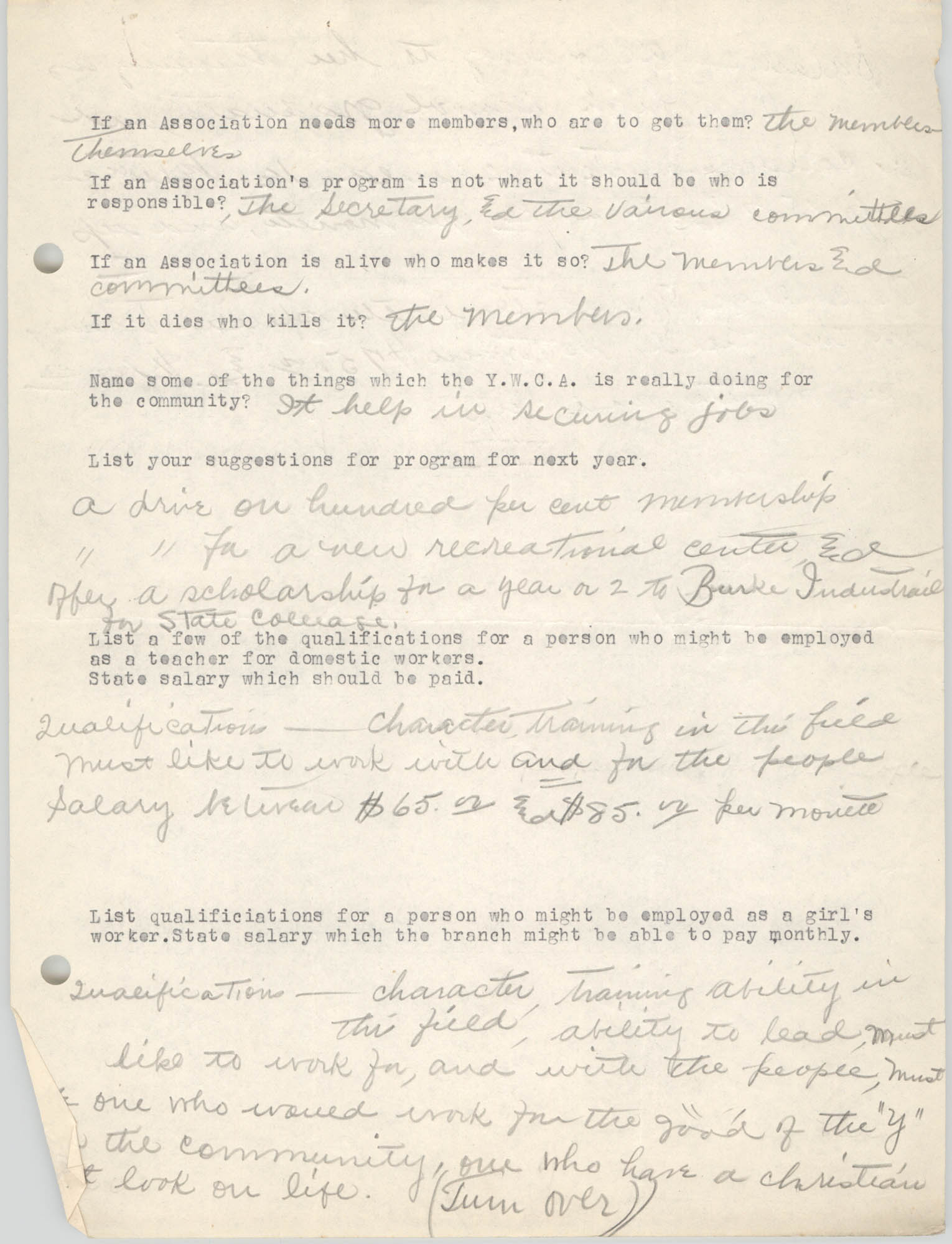 Coming Street Y.W.C.A., Completed Questionnaire Number 11, Page 2