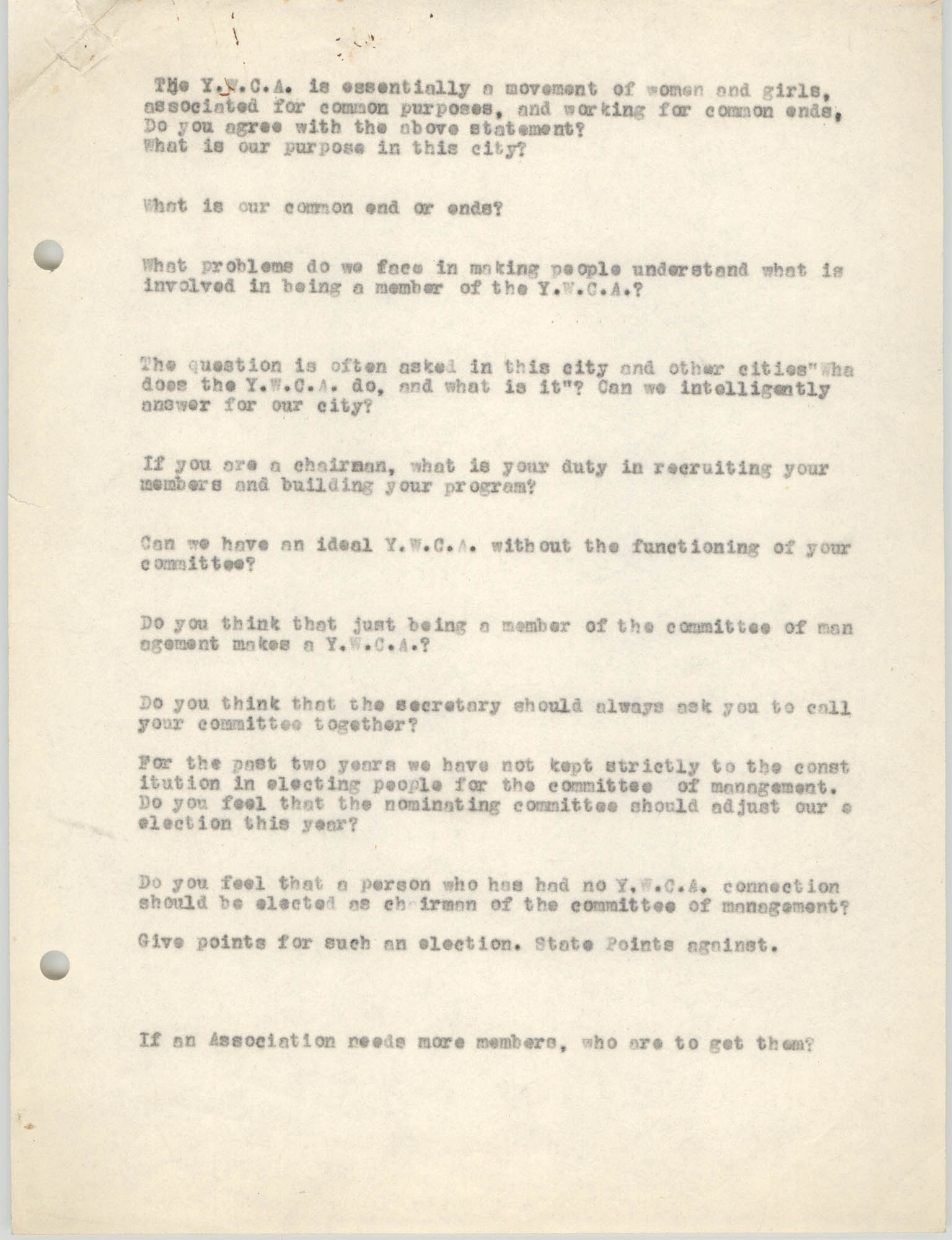 Coming Street Y.W.C.A., Completed Questionnaire Number 12, Page 1