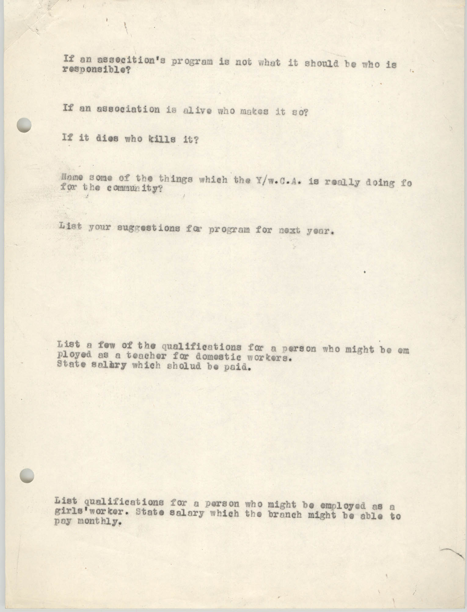 Coming Street Y.W.C.A., Completed Questionnaire Number 12, Page 2
