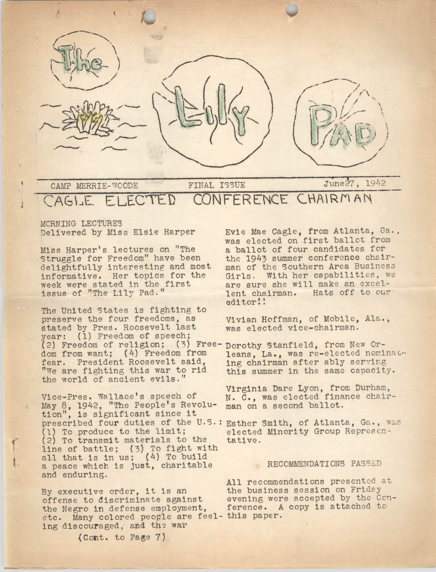 The Lily Pad, Camp Merrie-Woode Newsletter, June 27, 1942, Page 1