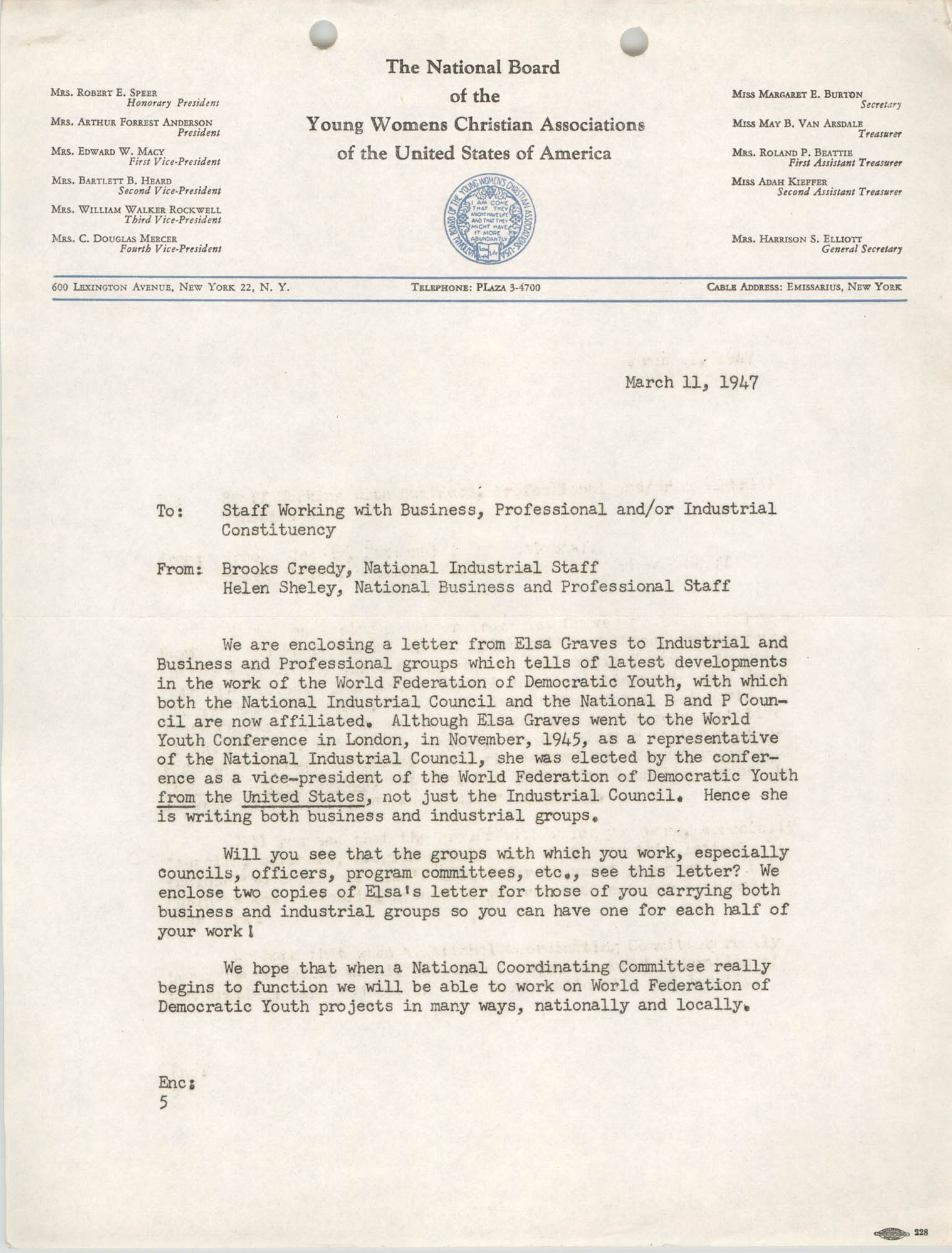 National Board of the Y.W.C.A. Business and Professional Girls Council Correspondence, March 11, 1947