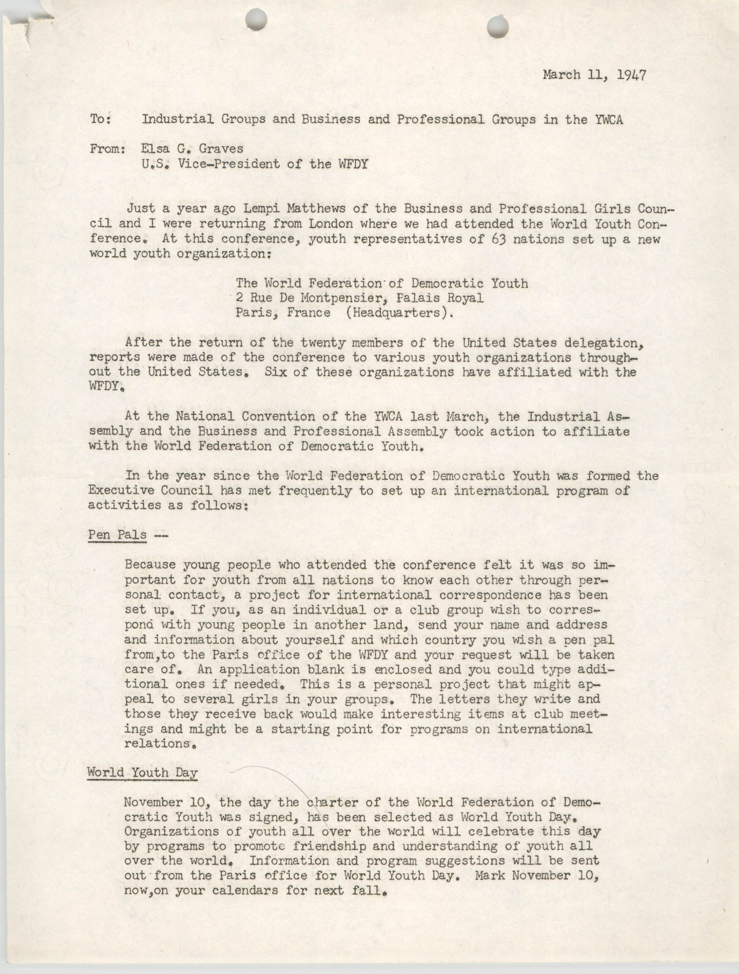 National Board of the Y.W.C.A. Business and Professional Girls Council Correspondence, 1947, Page 1