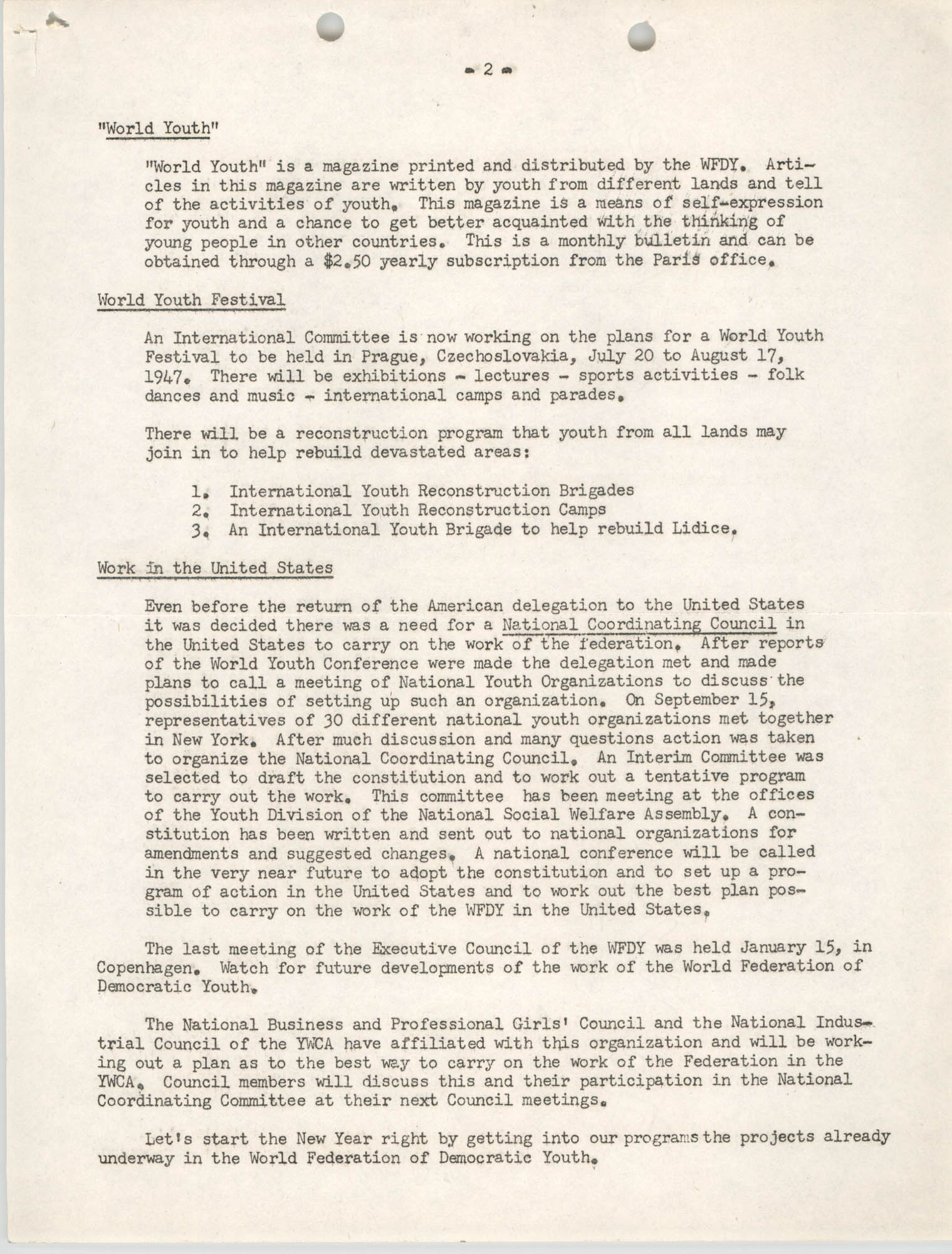 National Board of the Y.W.C.A. Business and Professional Girls Council Correspondence, 1947, Page 2