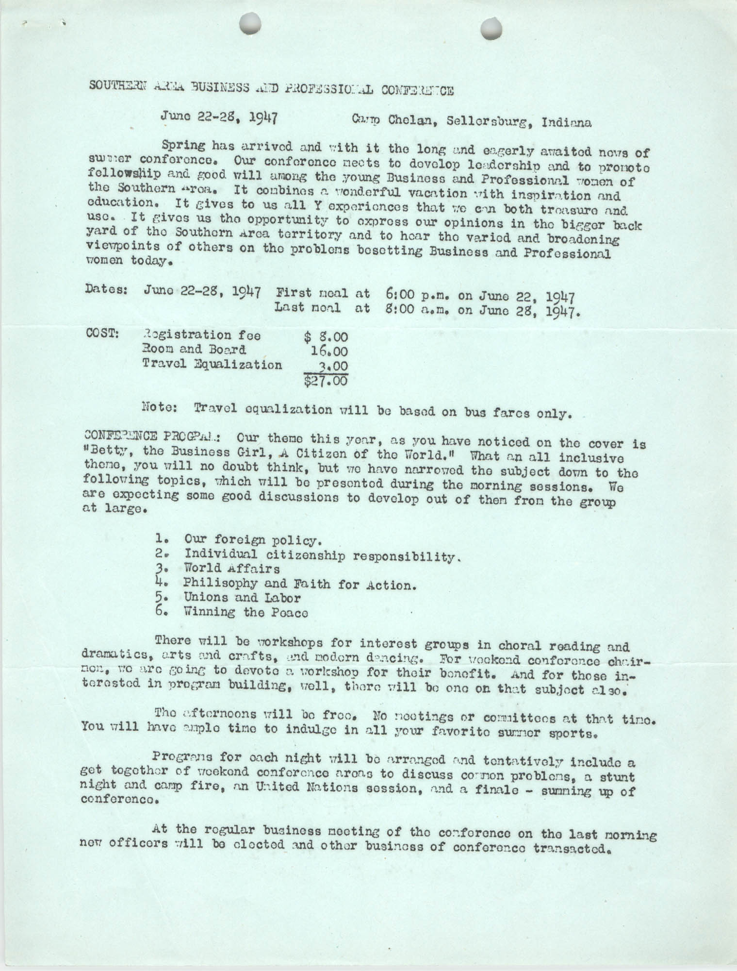 Southern Area Business and Professional Summer Conference, June 1947, Page 2