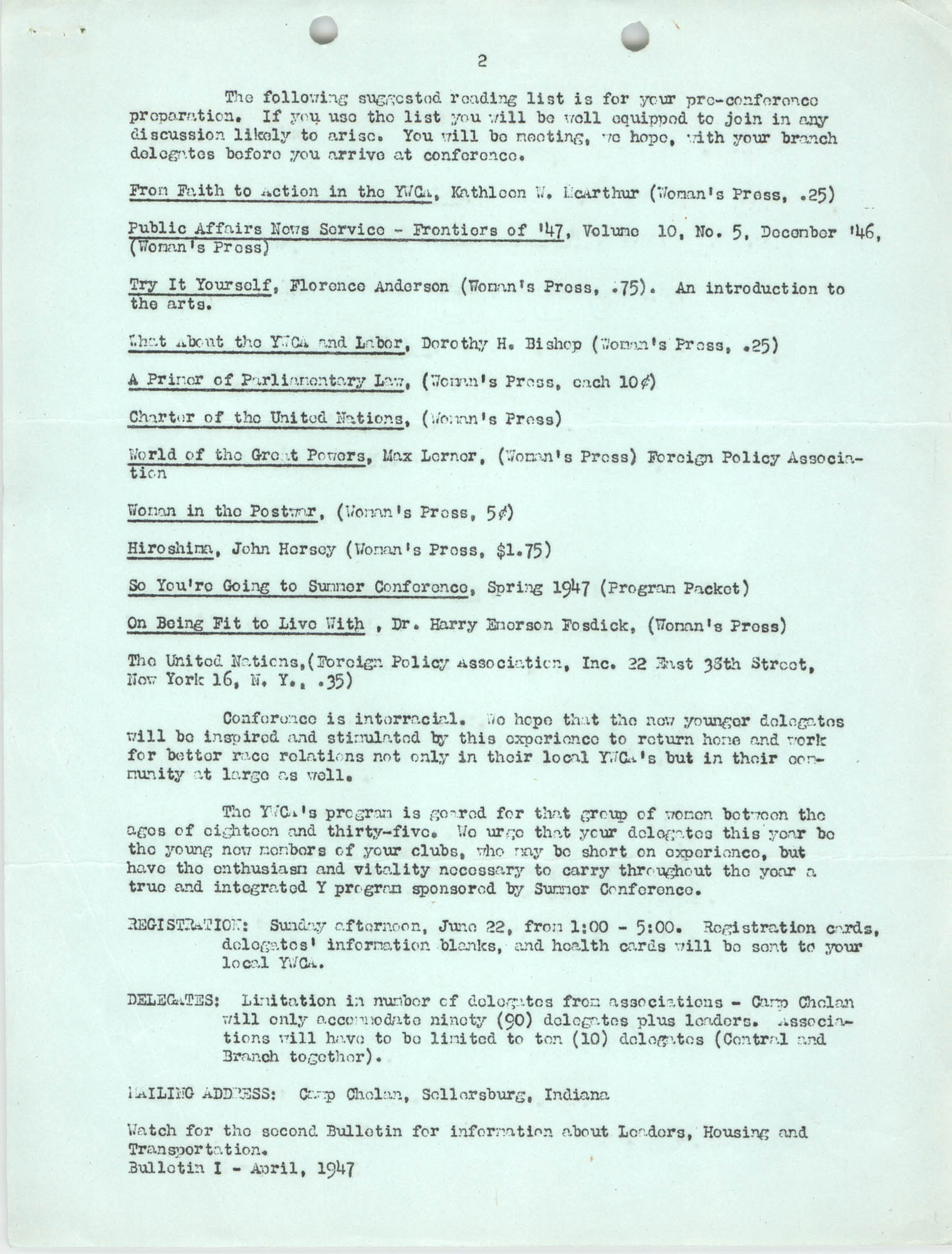Southern Area Business and Professional Summer Conference, June 1947, Page 3