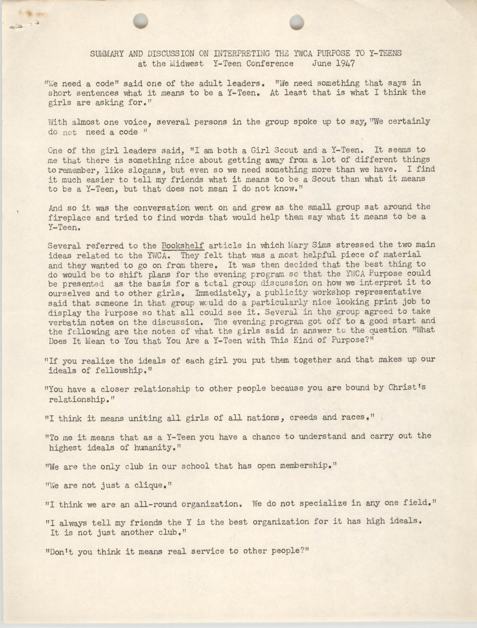Summary and Discussion on Interpreting the Y.W.C.A. Purpose to Y-Teens, June 1947, Page 1