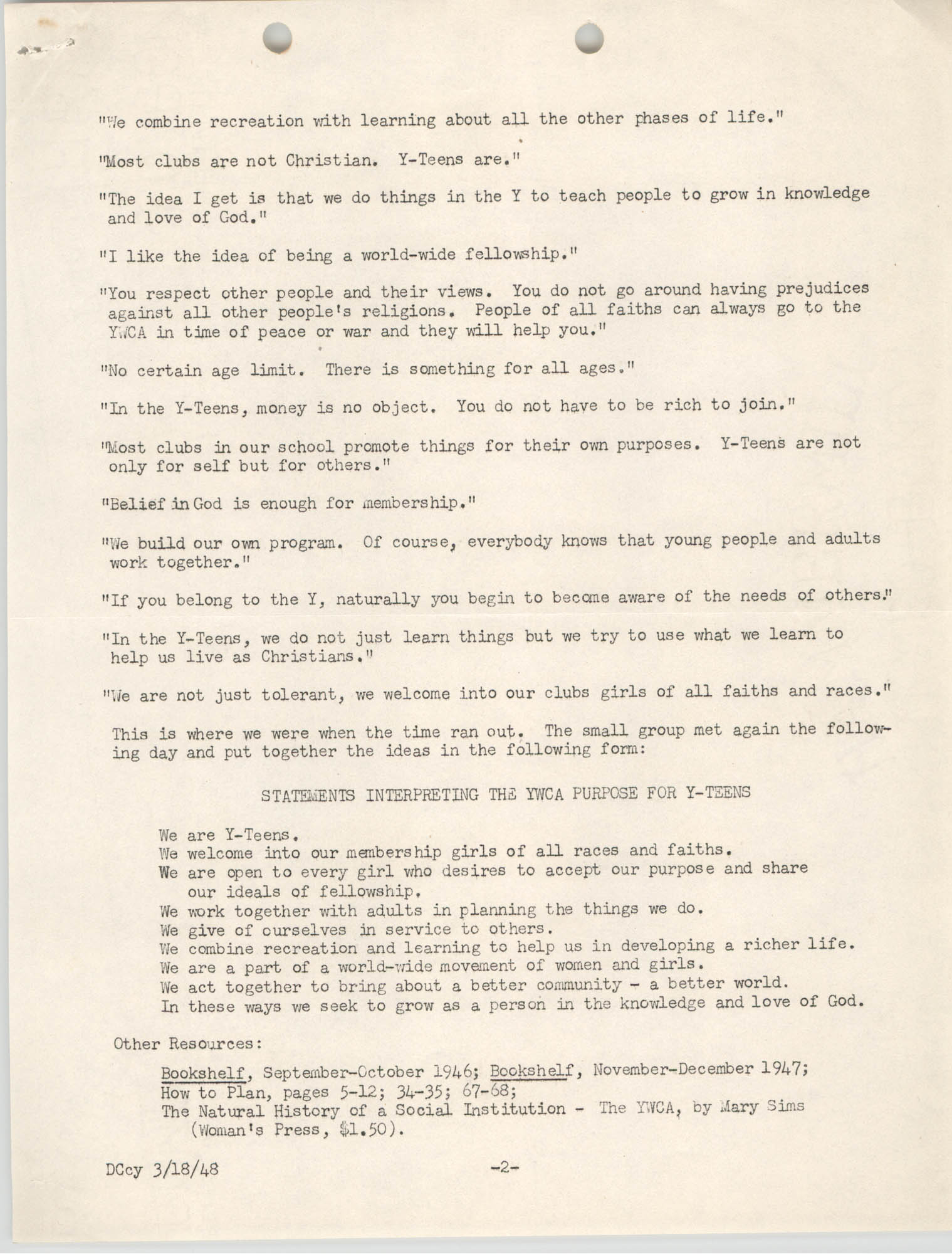 Summary and Discussion on Interpreting the Y.W.C.A. Purpose to Y-Teens, June 1947, Page 2