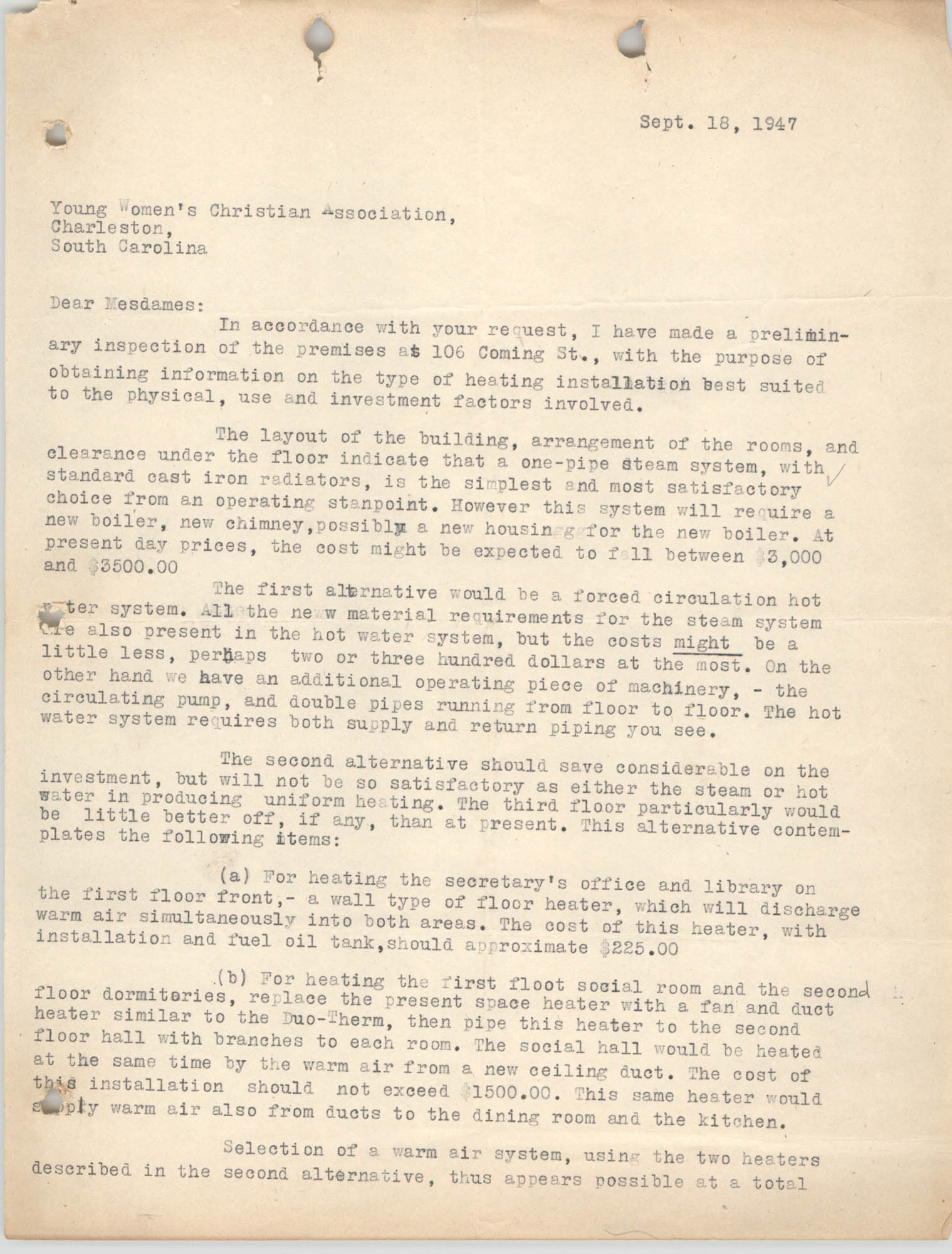 Letter from Robert H. Emerick to Y.W.C.A., September 18, 1947, Page 1