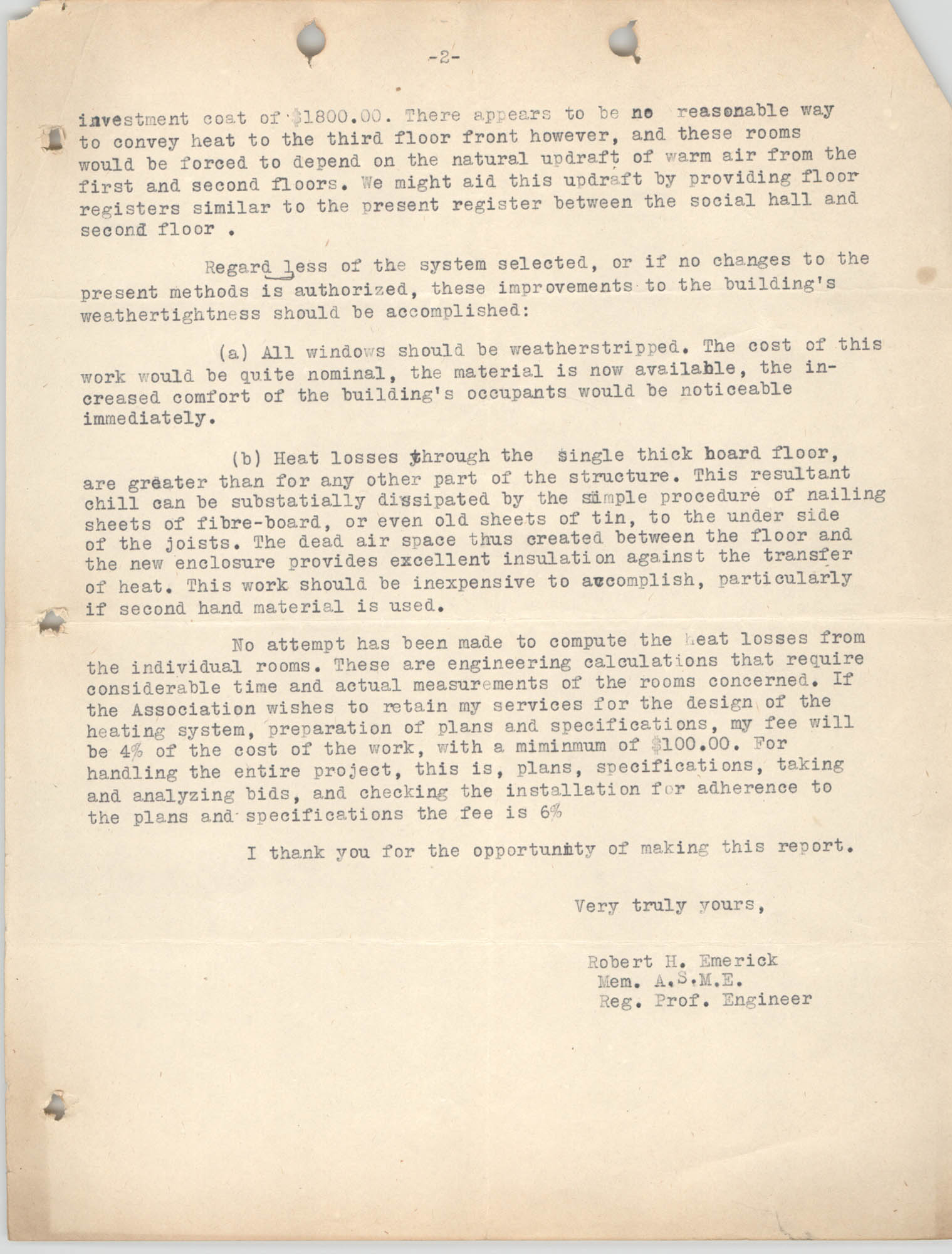 Letter from Robert H. Emerick to Y.W.C.A., September 18, 1947, Page 2