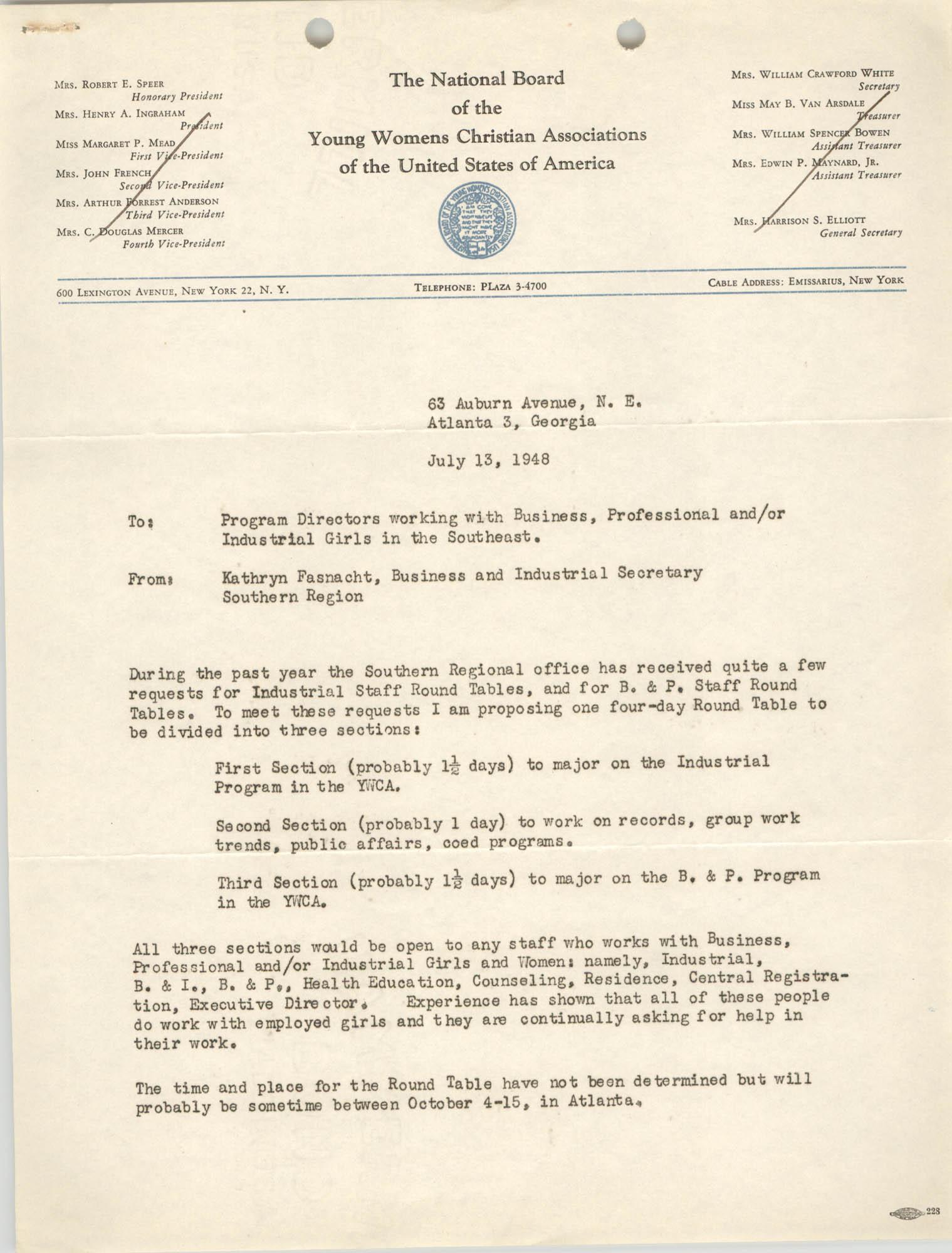National Board of the Y.W.C.A. Memorandum, July 13, 1948, Part 1