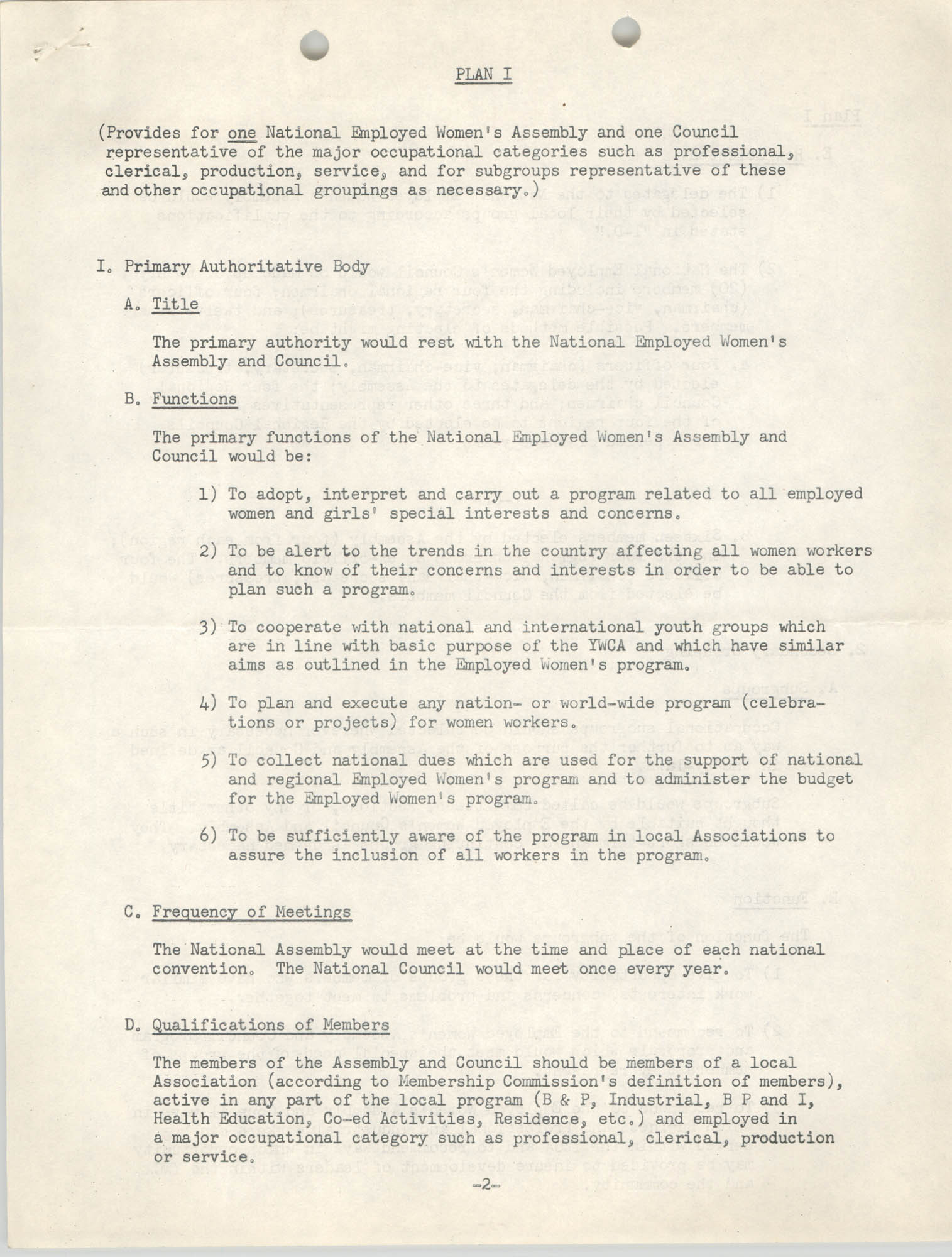 Division of Community Y.W.C.A.'s Committee Report, Plan I, Page 2