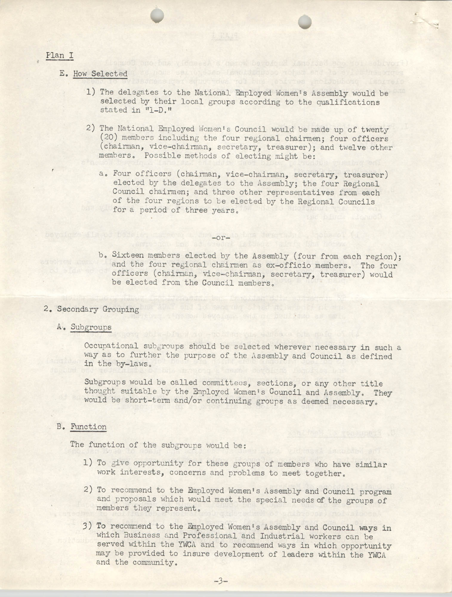 Division of Community Y.W.C.A.'s Committee Report, Plan I, Page 3