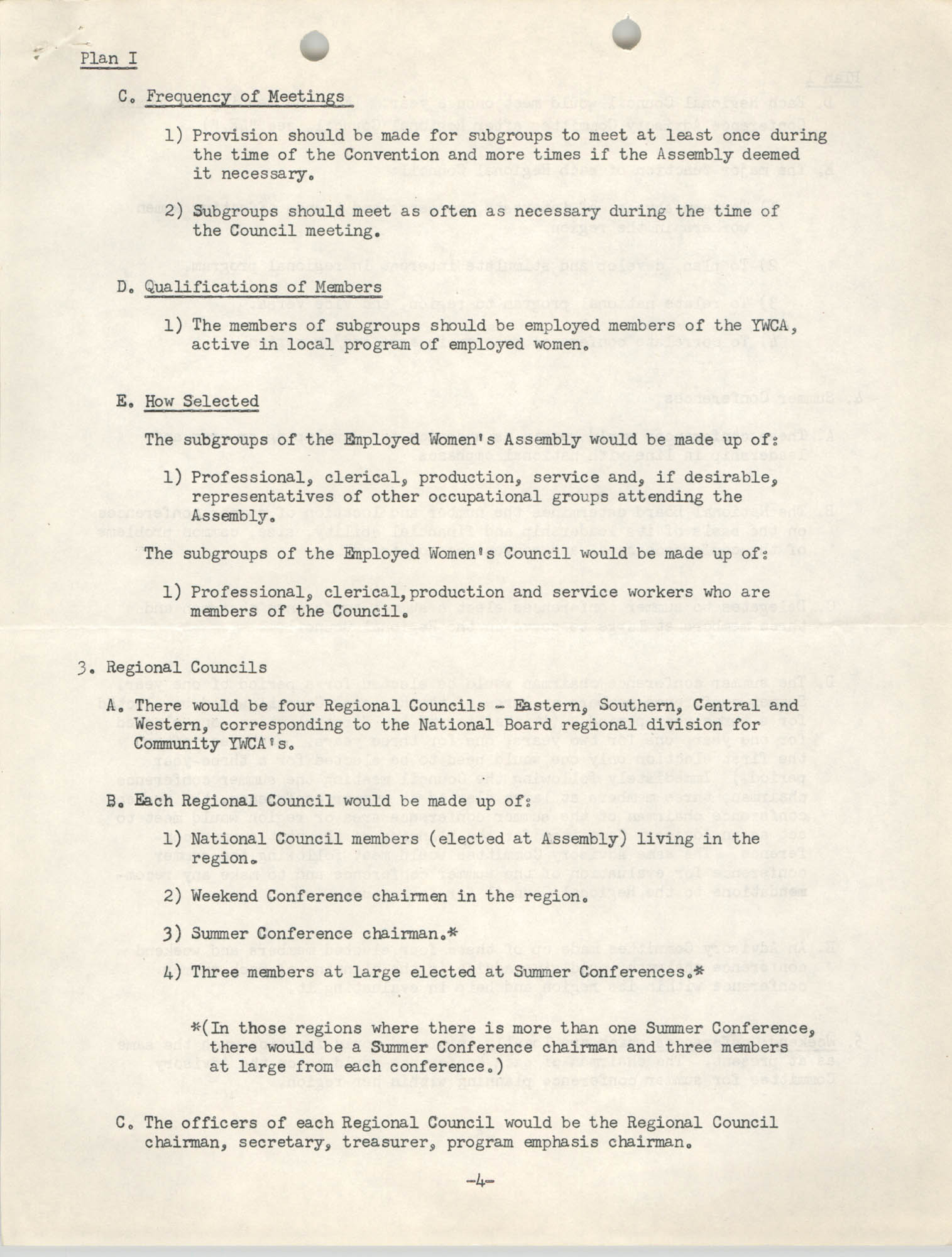 Division of Community Y.W.C.A.'s Committee Report, Plan I, Page 4
