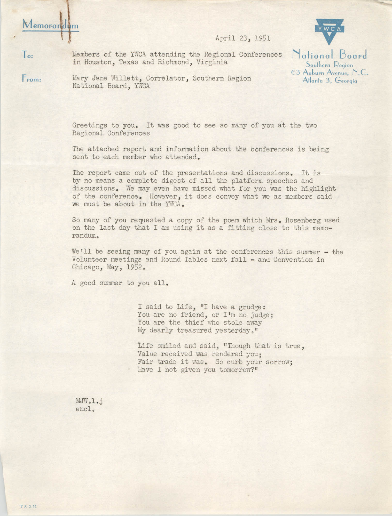 National Board of the Y.W.C.A. Memorandum, April 23, 1951