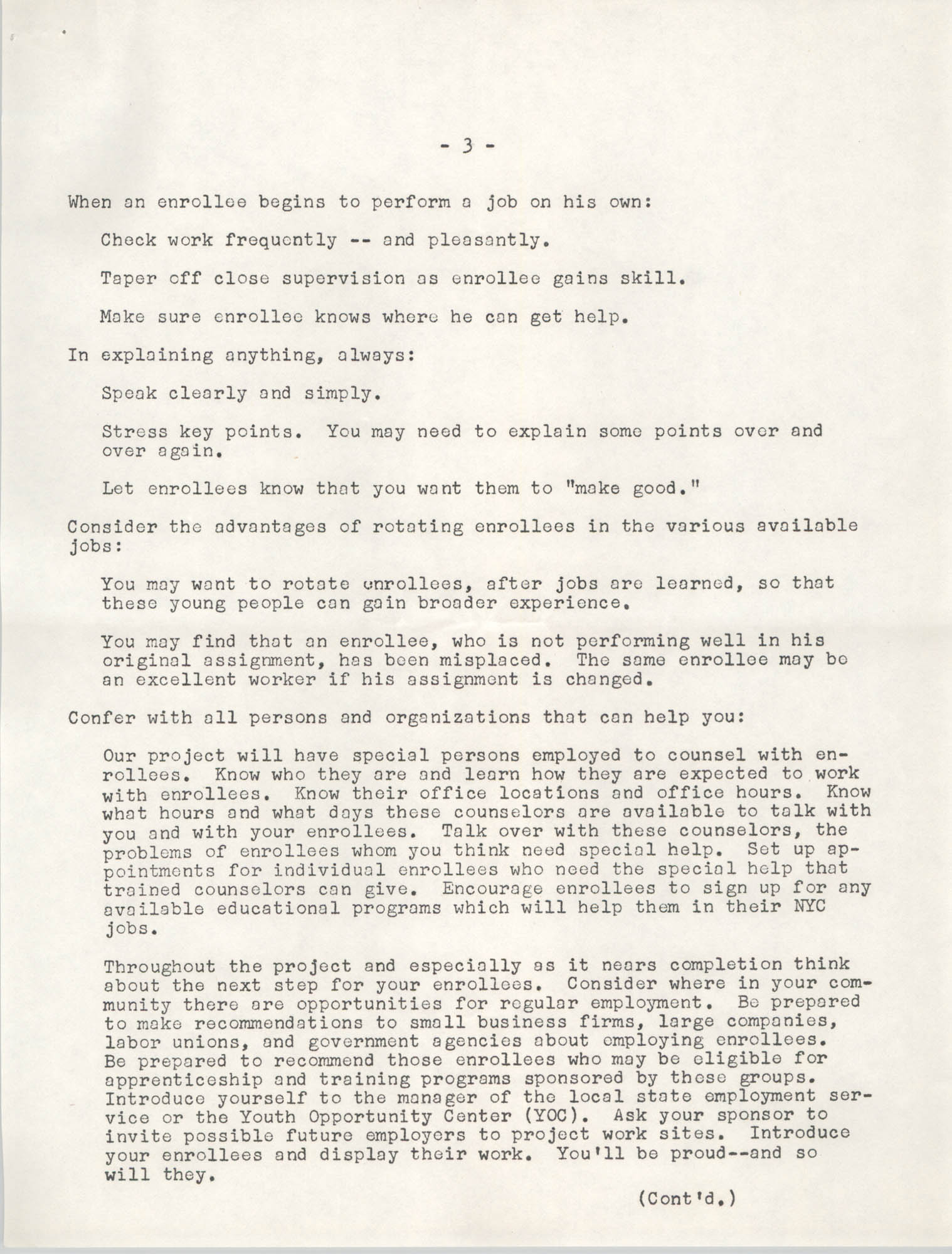 Neighborhood Youth Corps, Coming Street Y.W.C.A., Page 3