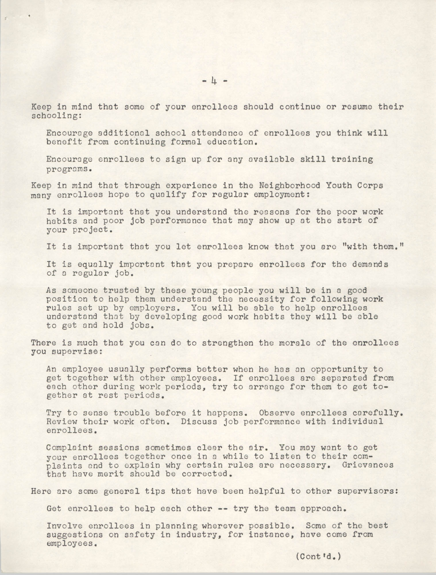 Neighborhood Youth Corps, Coming Street Y.W.C.A., Page 4