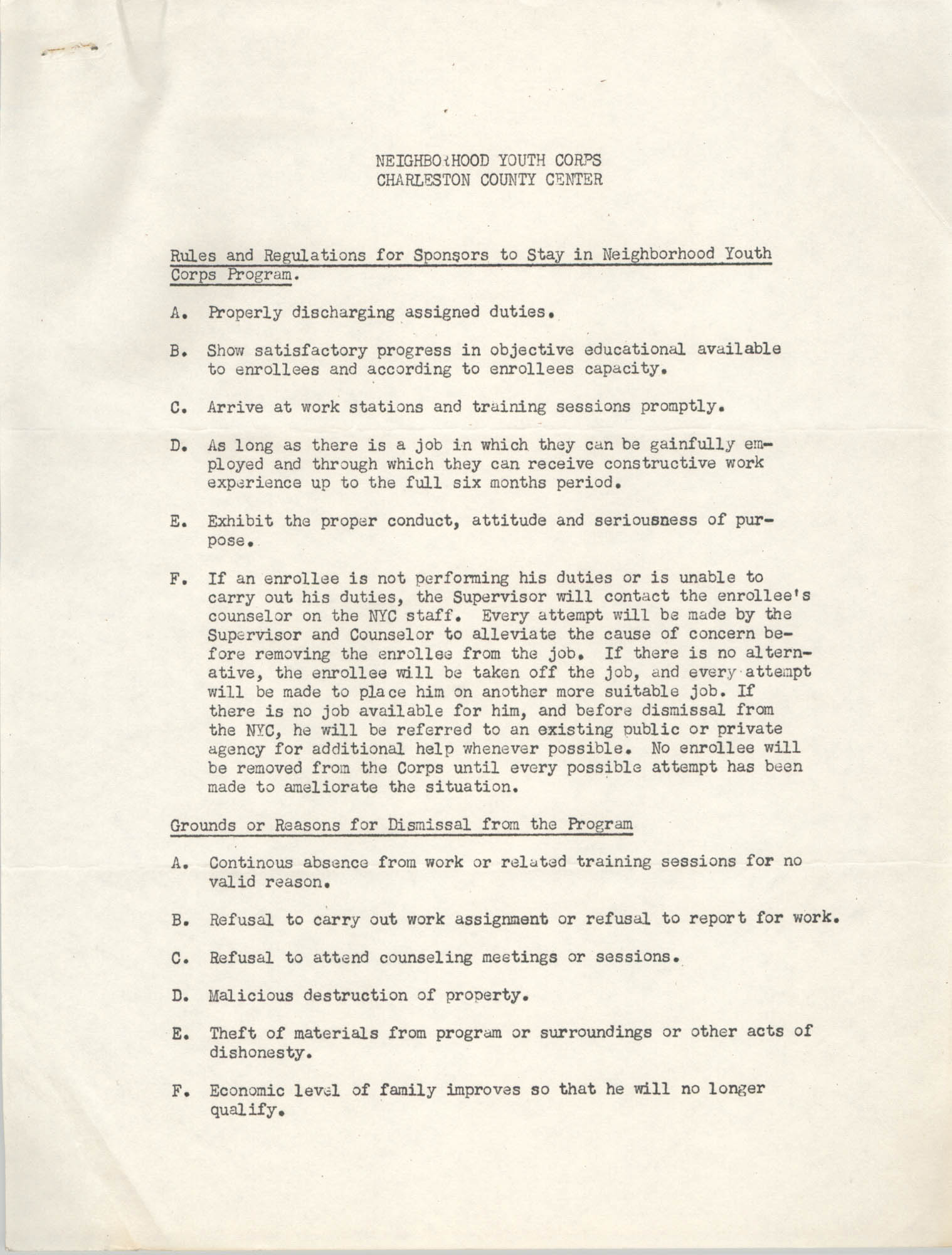 Neighborhood Youth Corps, Coming Street Y.W.C.A., Rules and Regulations, Page 1