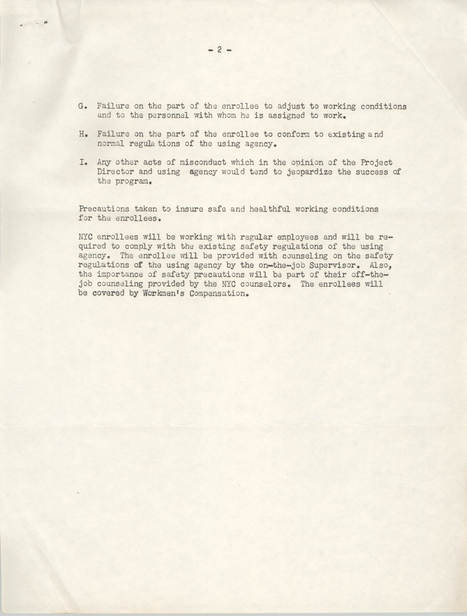 Neighborhood Youth Corps, Coming Street Y.W.C.A., Rules and Regulations, Page 2