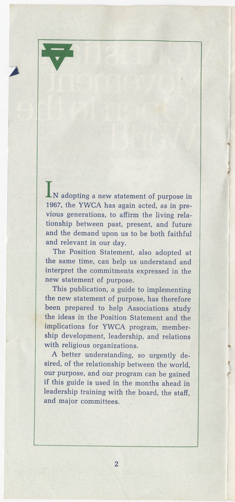 The Y.W.C.A.: A Christian Movement Open to the World, Page 2