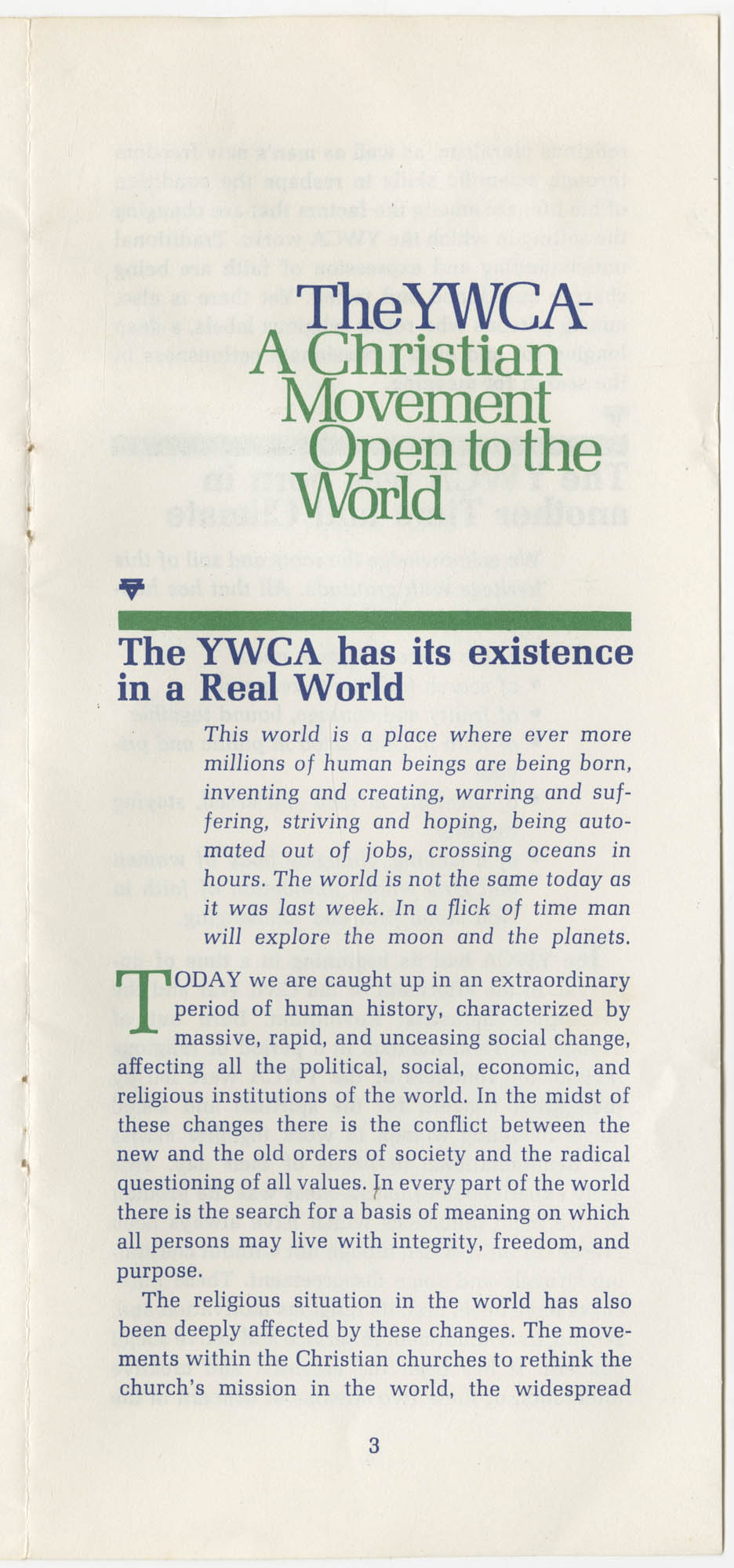 The Y.W.C.A.: A Christian Movement Open to the World, Page 3