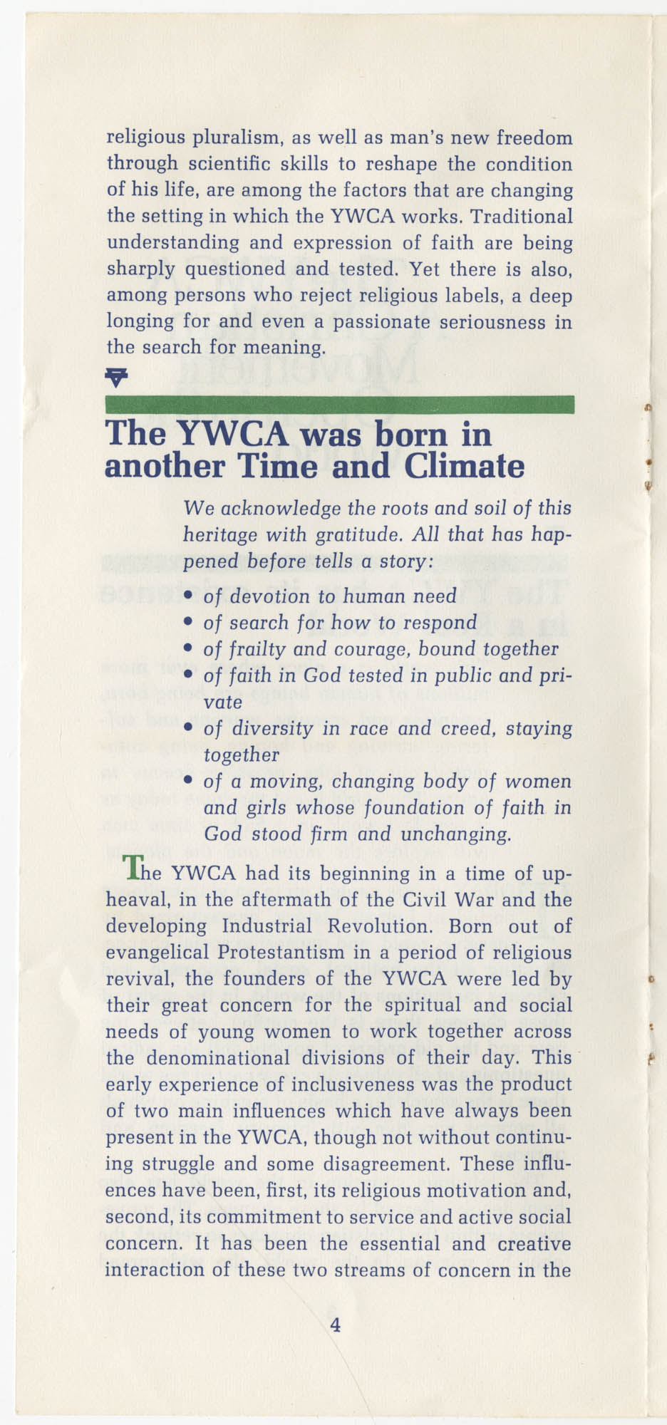 The Y.W.C.A.: A Christian Movement Open to the World, Page 4