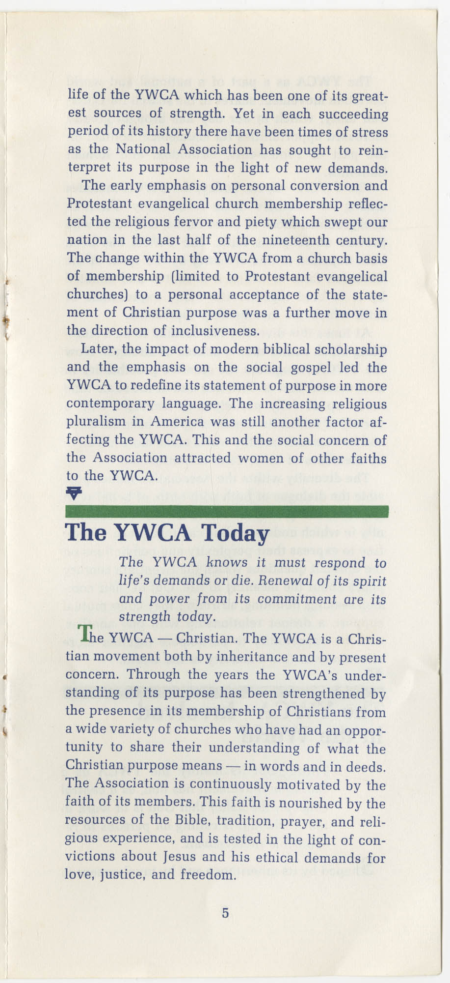 The Y.W.C.A.: A Christian Movement Open to the World, Page 5