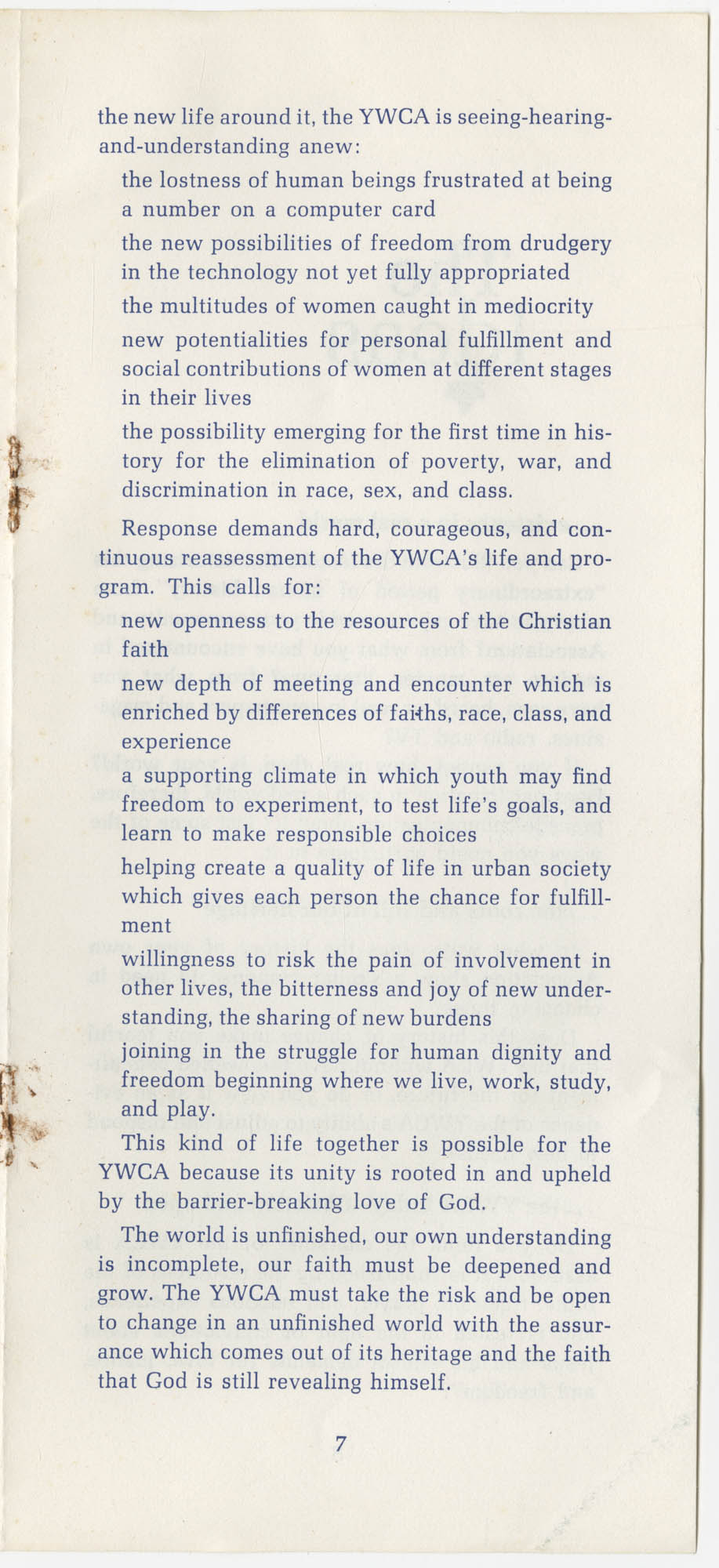 The Y.W.C.A.: A Christian Movement Open to the World, Page 7