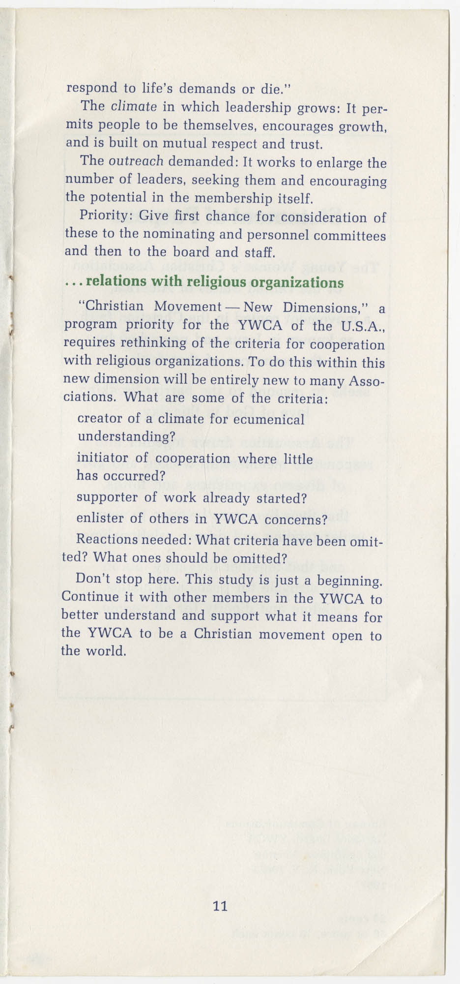 The Y.W.C.A.: A Christian Movement Open to the World, Page 11