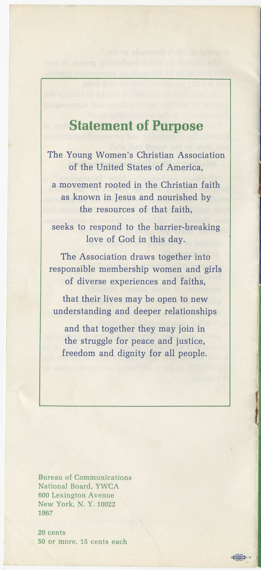 The Y.W.C.A.: A Christian Movement Open to the World, Back Cover
