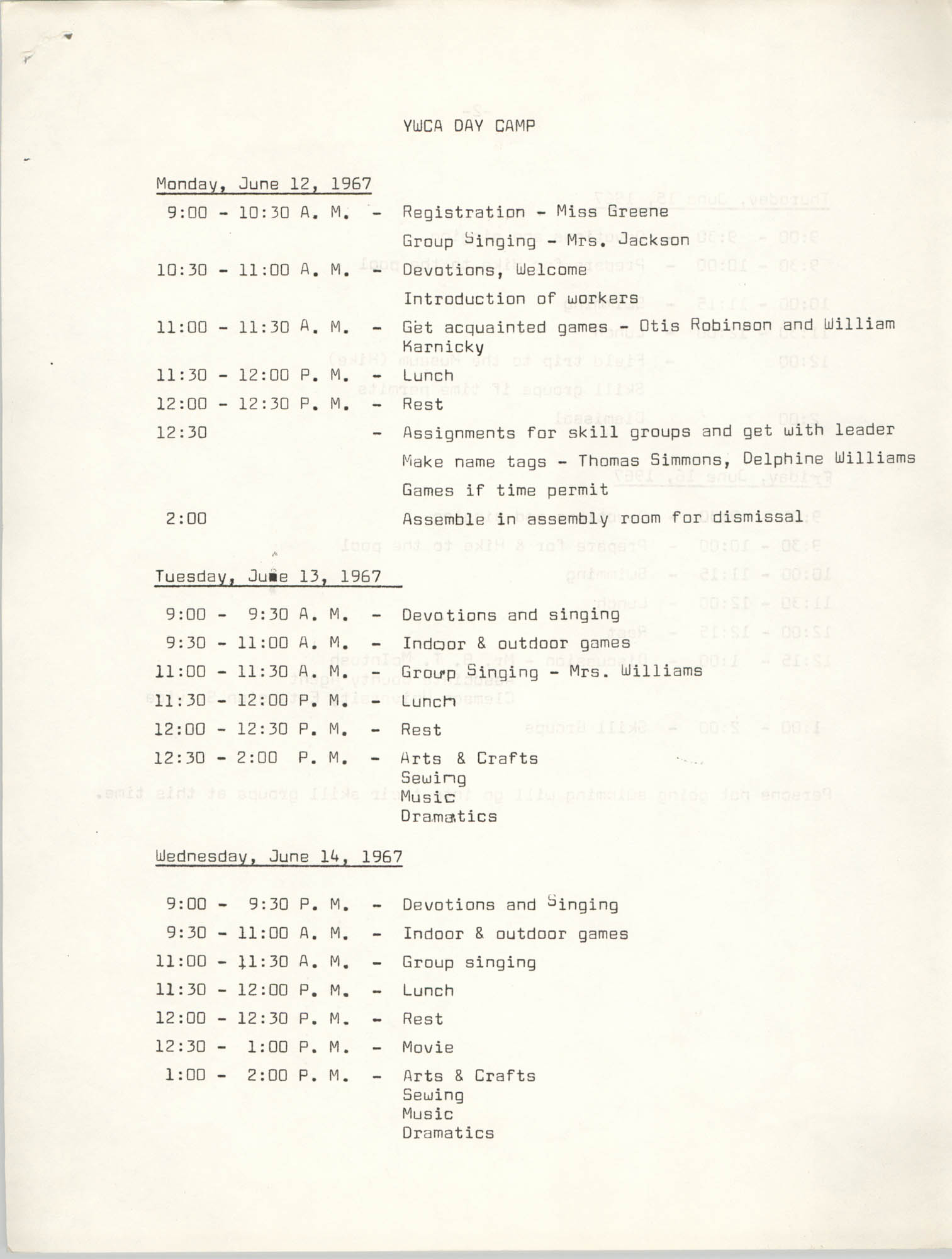 Coming Street Y.W.C.A. Day Camp, June 12-16, 1967, Page 1