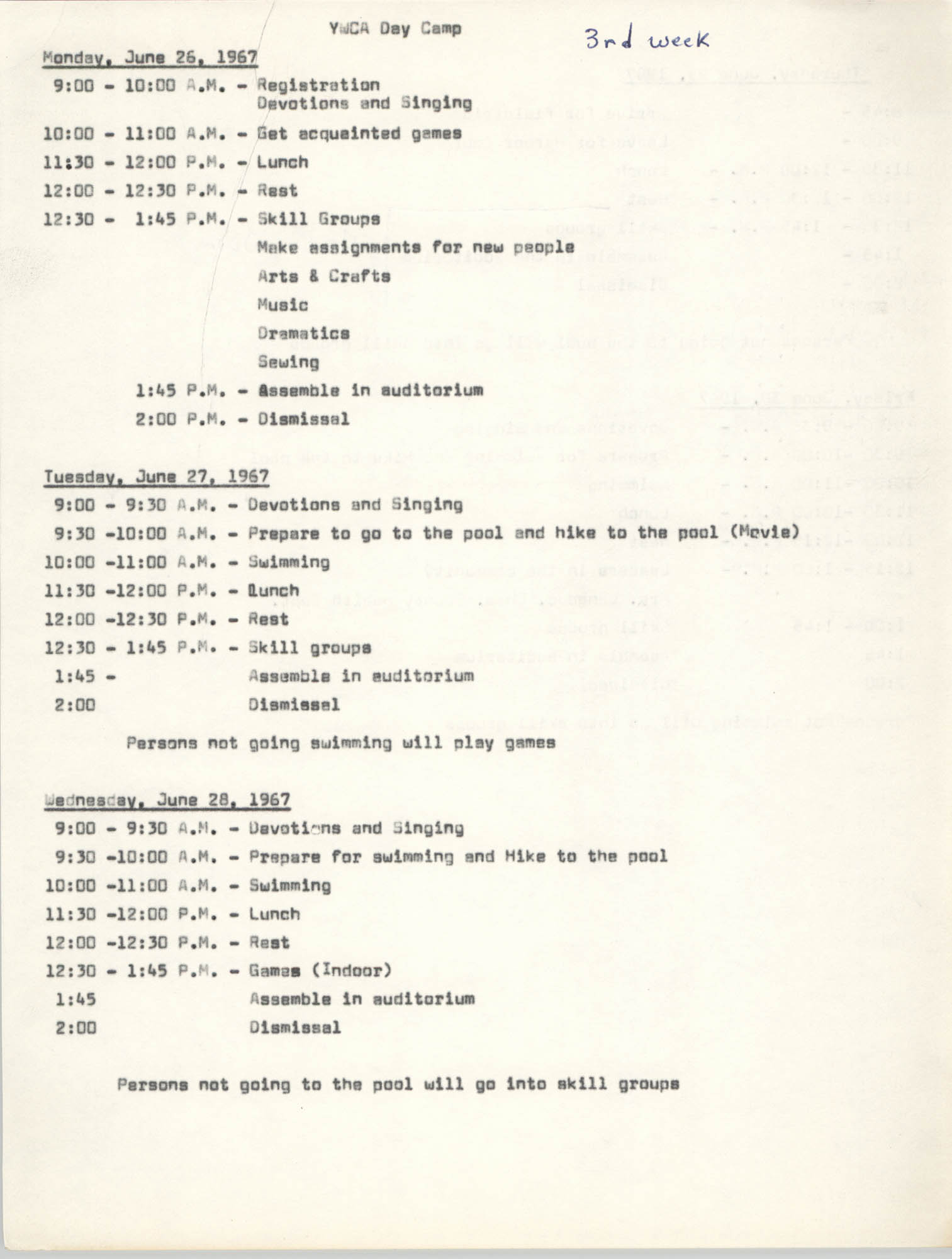 Coming Street Y.W.C.A. Day Camp, June 26-30 1967, Page 1