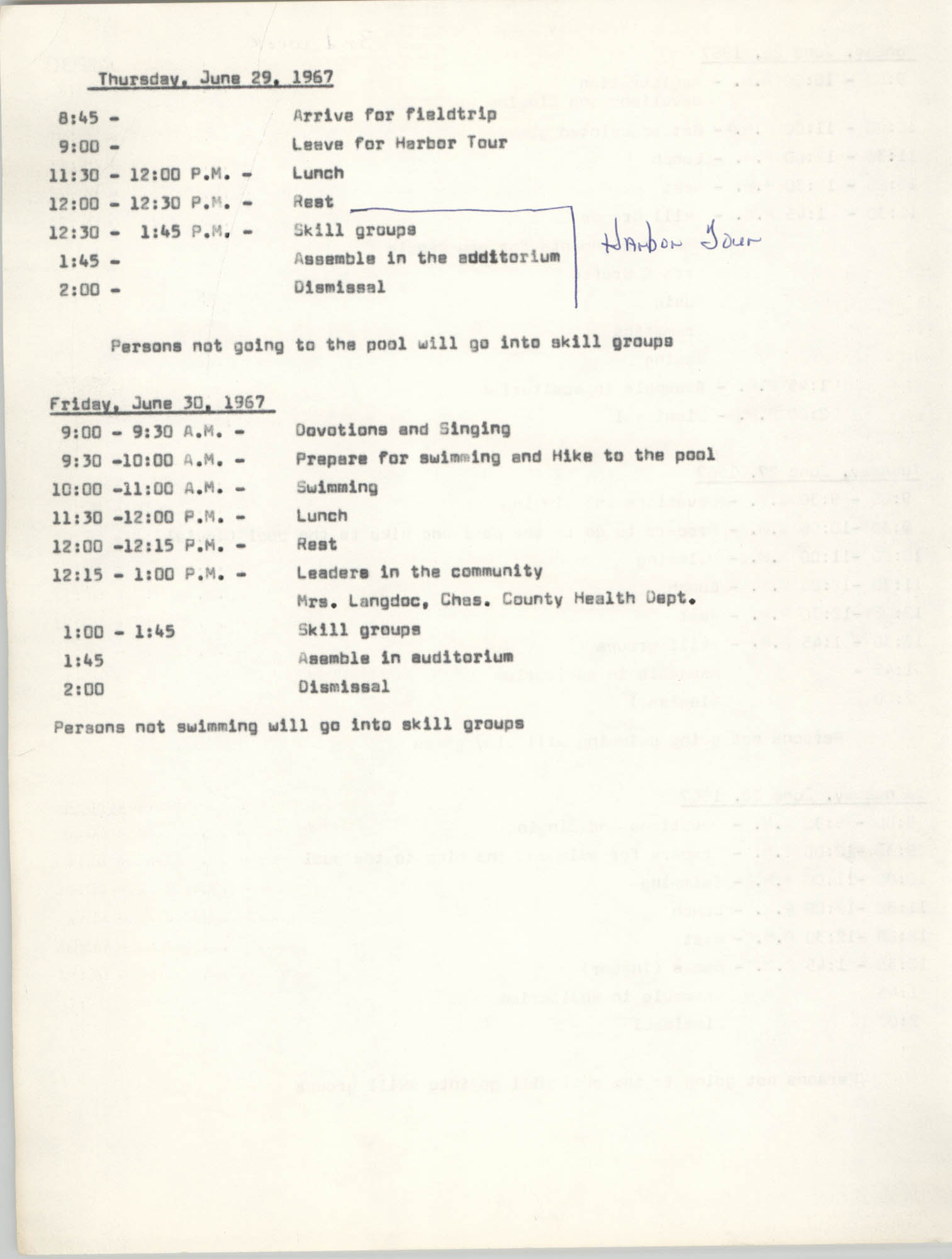 Coming Street Y.W.C.A. Day Camp, June 26-30 1967, Page 2