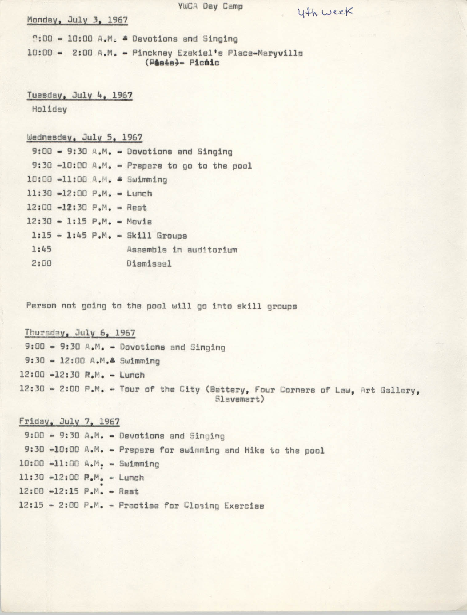 Coming Street Y.W.C.A. Day Camp, July 3-7, 1967