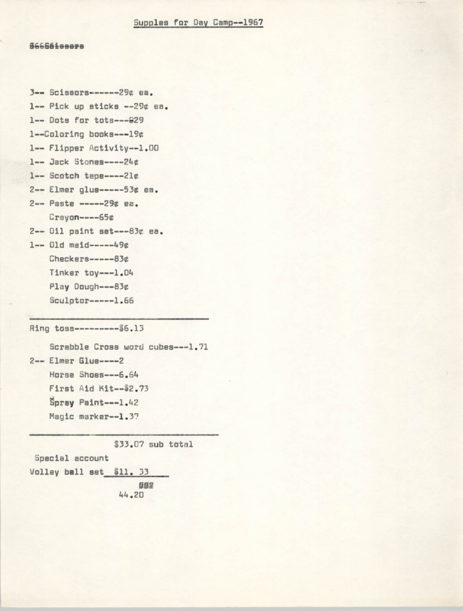 Coming Street Y.W.C.A. Day Camp 1967, Supplies List