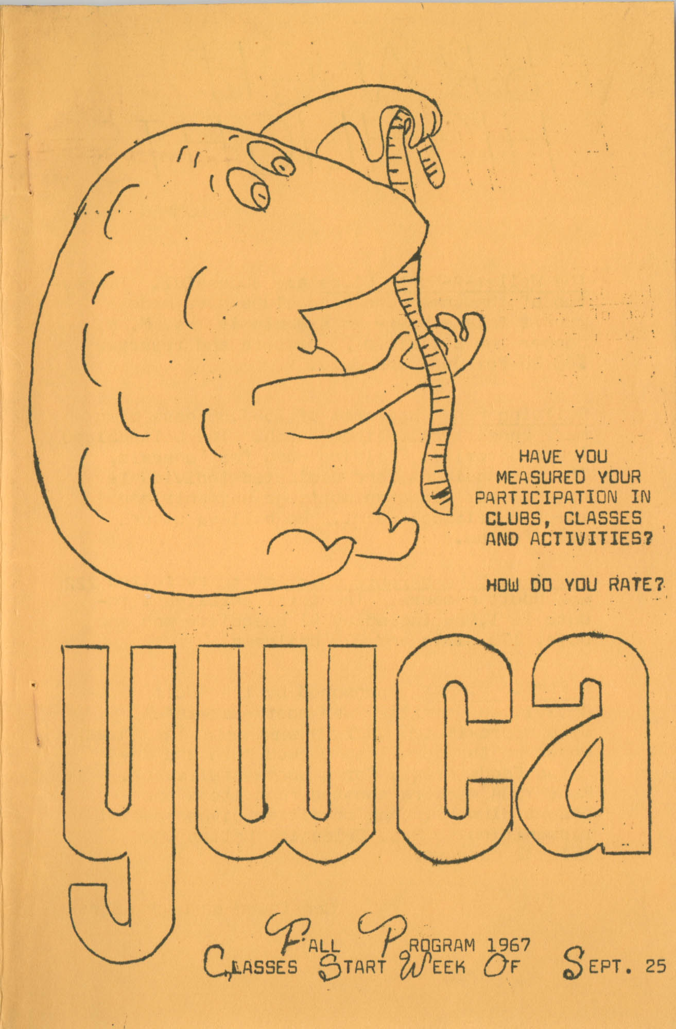Coming Street Y.W.C.A. Fall Program, 1967, Cover