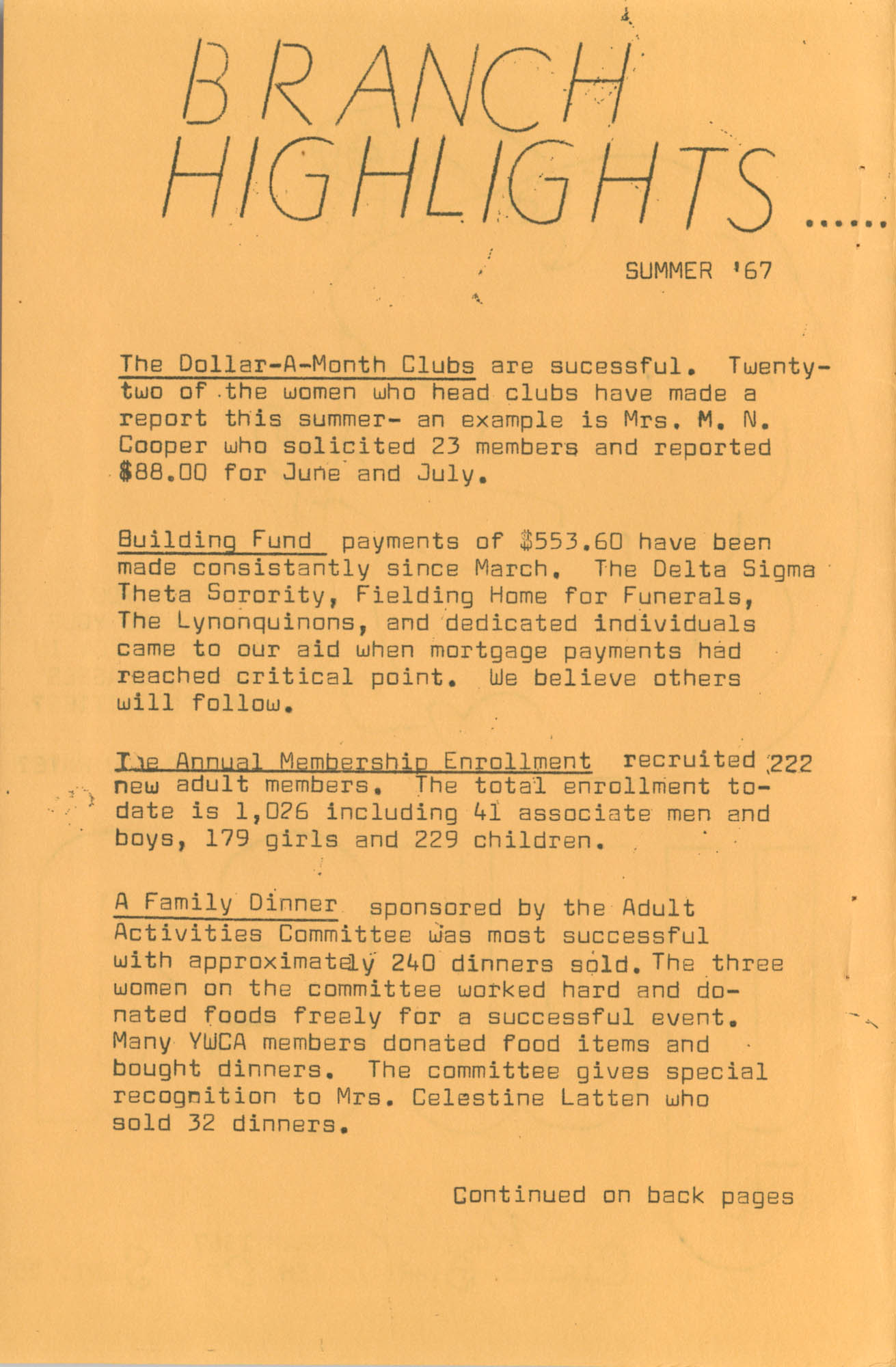Coming Street Y.W.C.A. Fall Program, 1967, Page 1