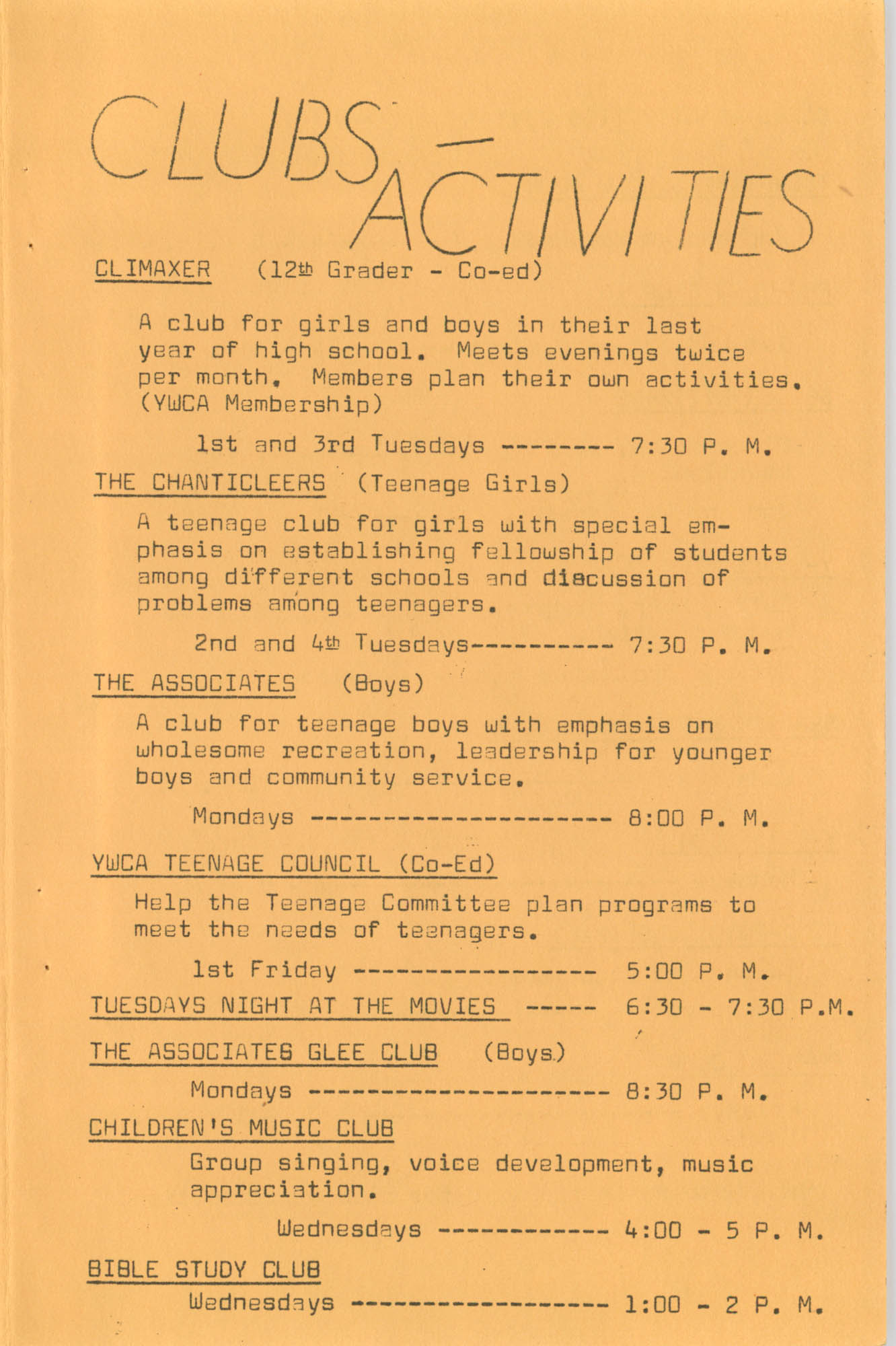 Coming Street Y.W.C.A. Fall Program, 1967, Page 8
