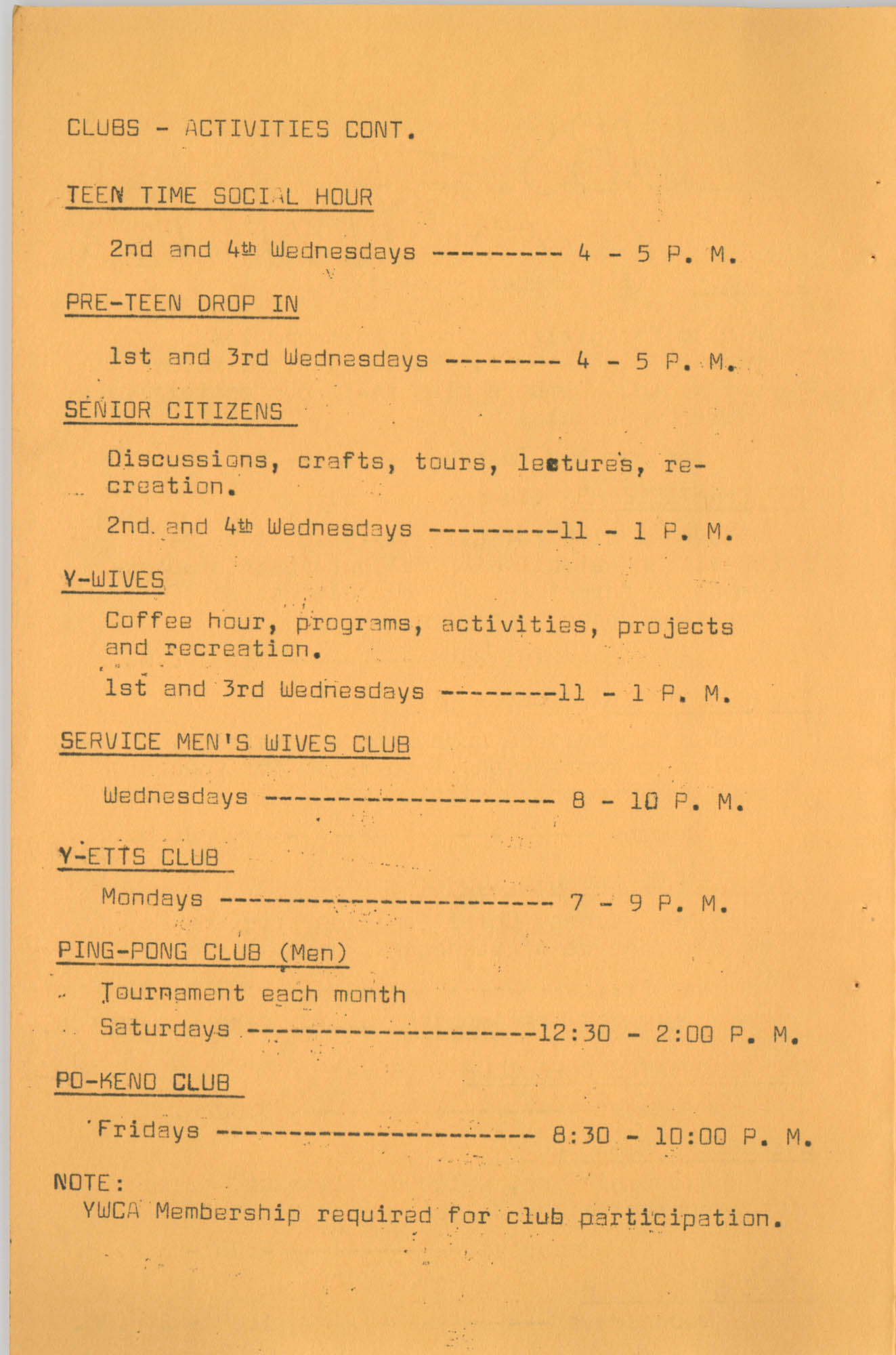 Coming Street Y.W.C.A. Fall Program, 1967, Page 9