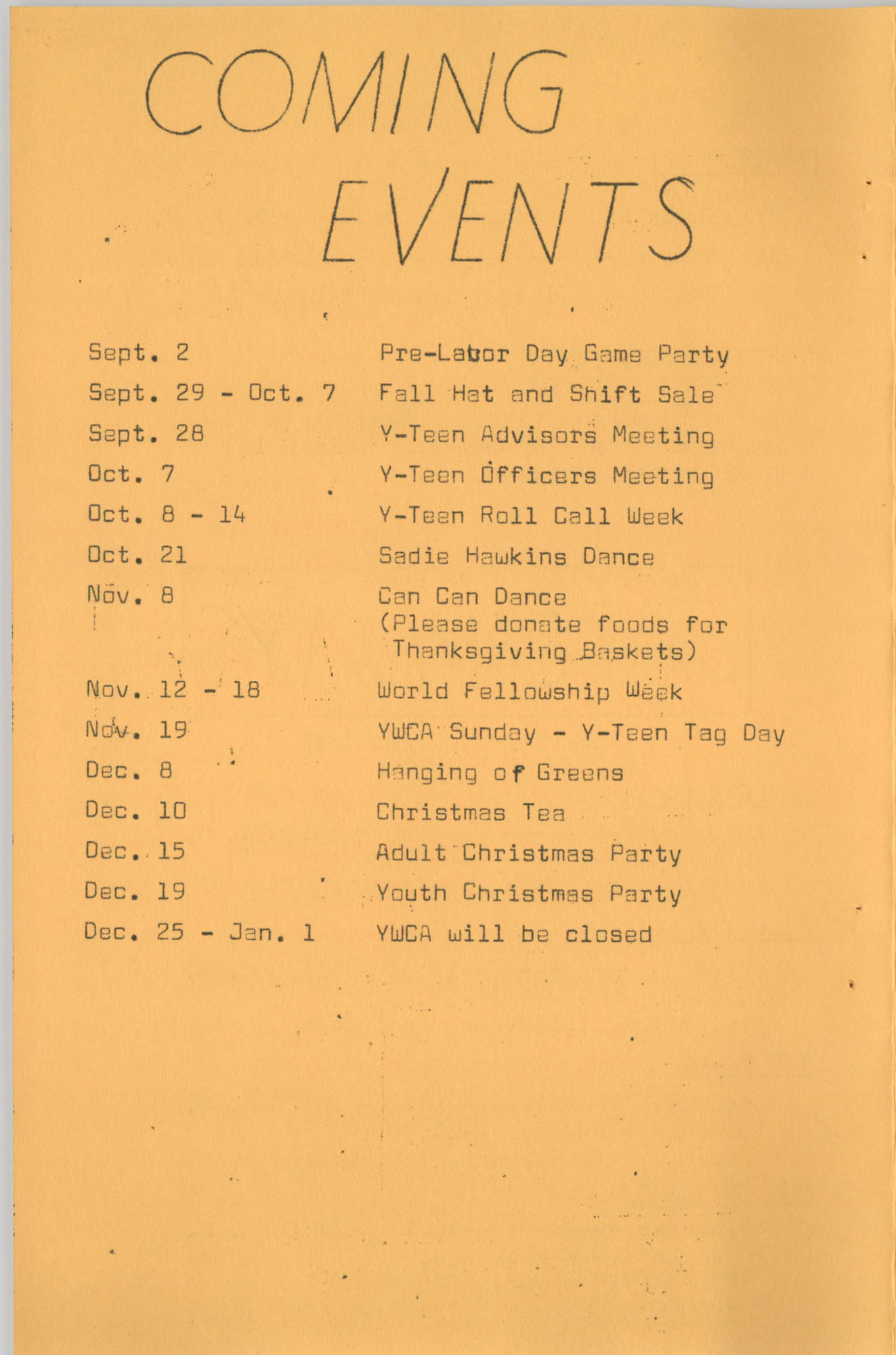 Coming Street Y.W.C.A. Fall Program, 1967, Page 11