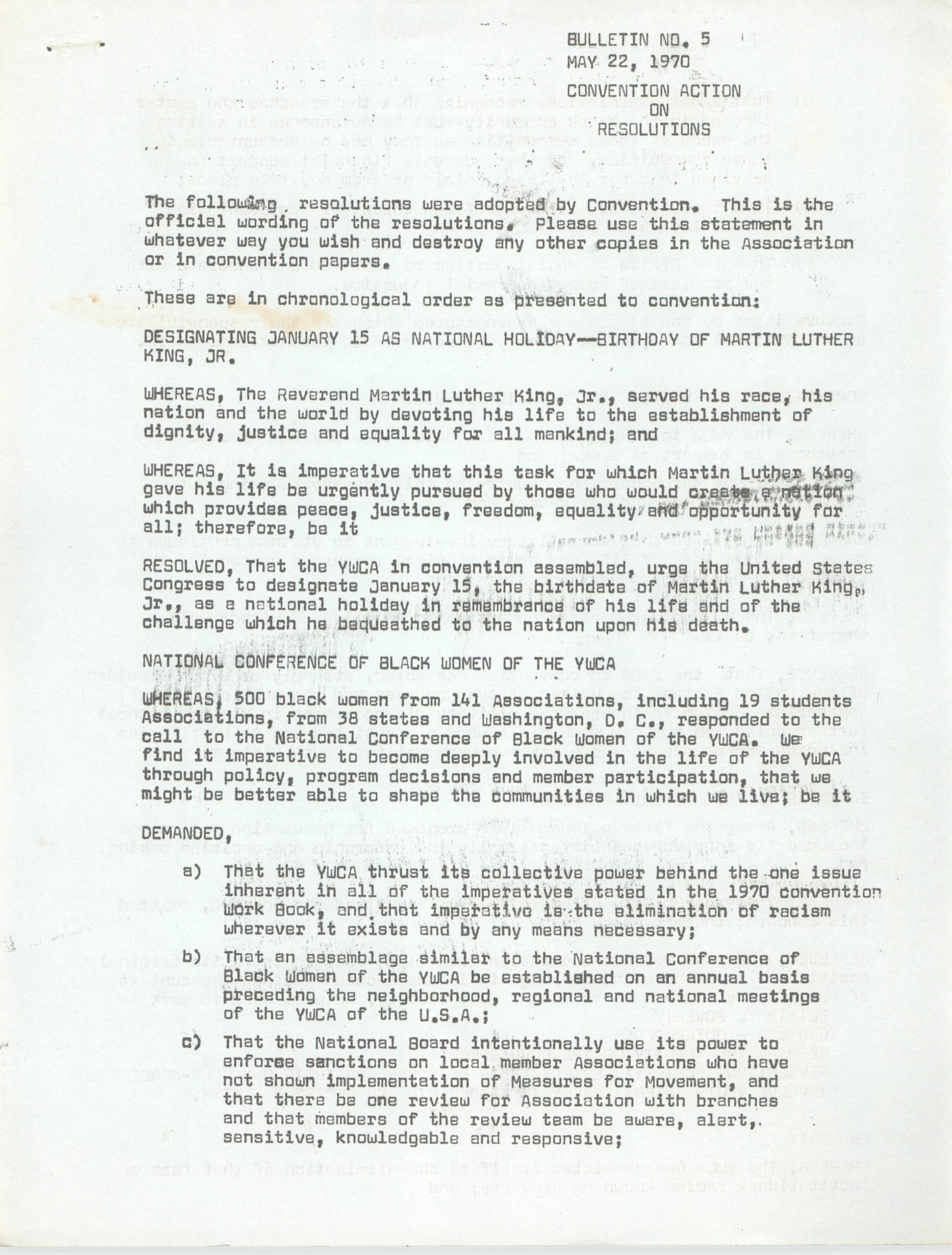 Bulletin No. 5, Convention Action on Resolutions, May 22, 1970, Page 1