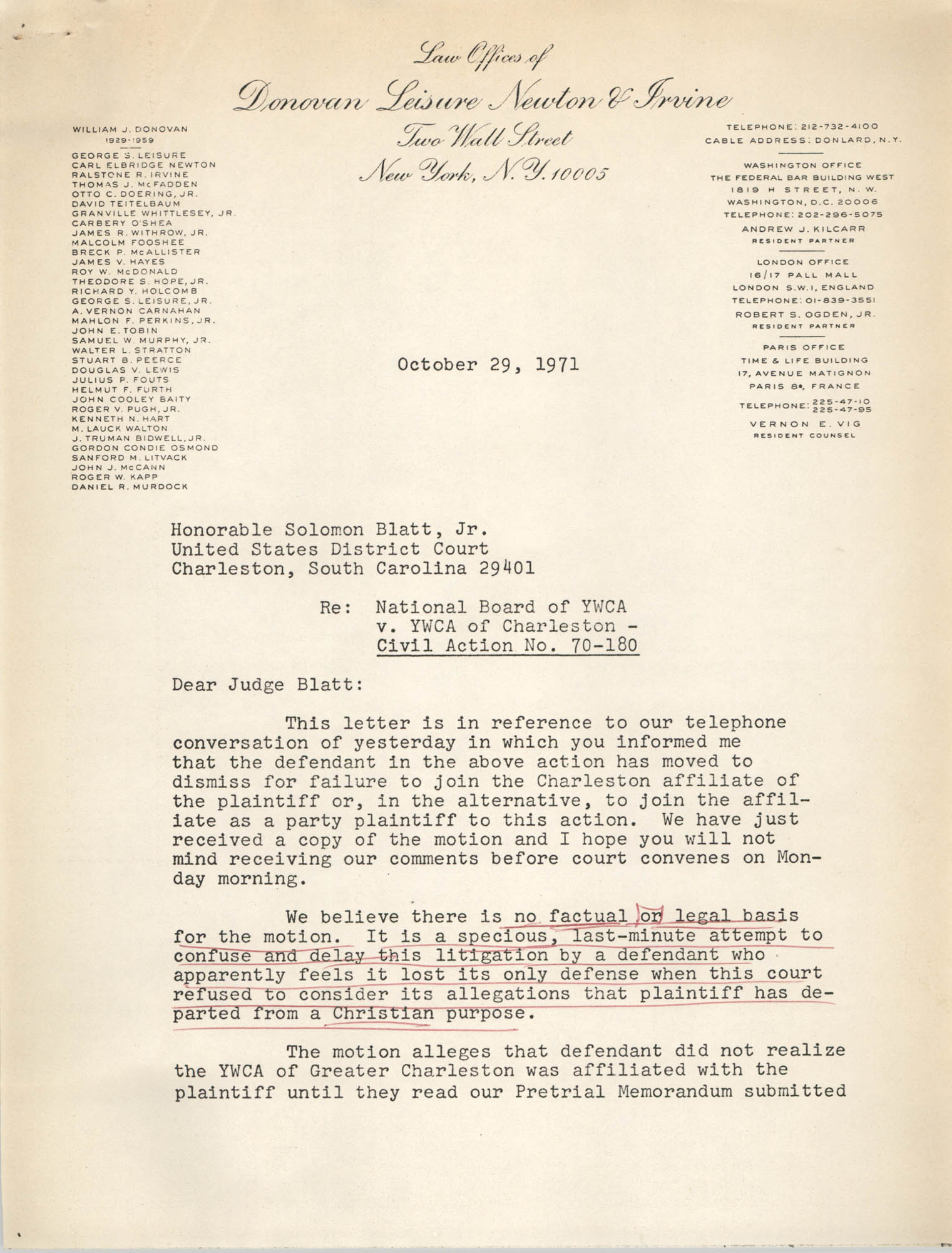 Letter from William C. Pelster to Honorable Solomon Blatt, Jr., October 29, 1971, Page 1