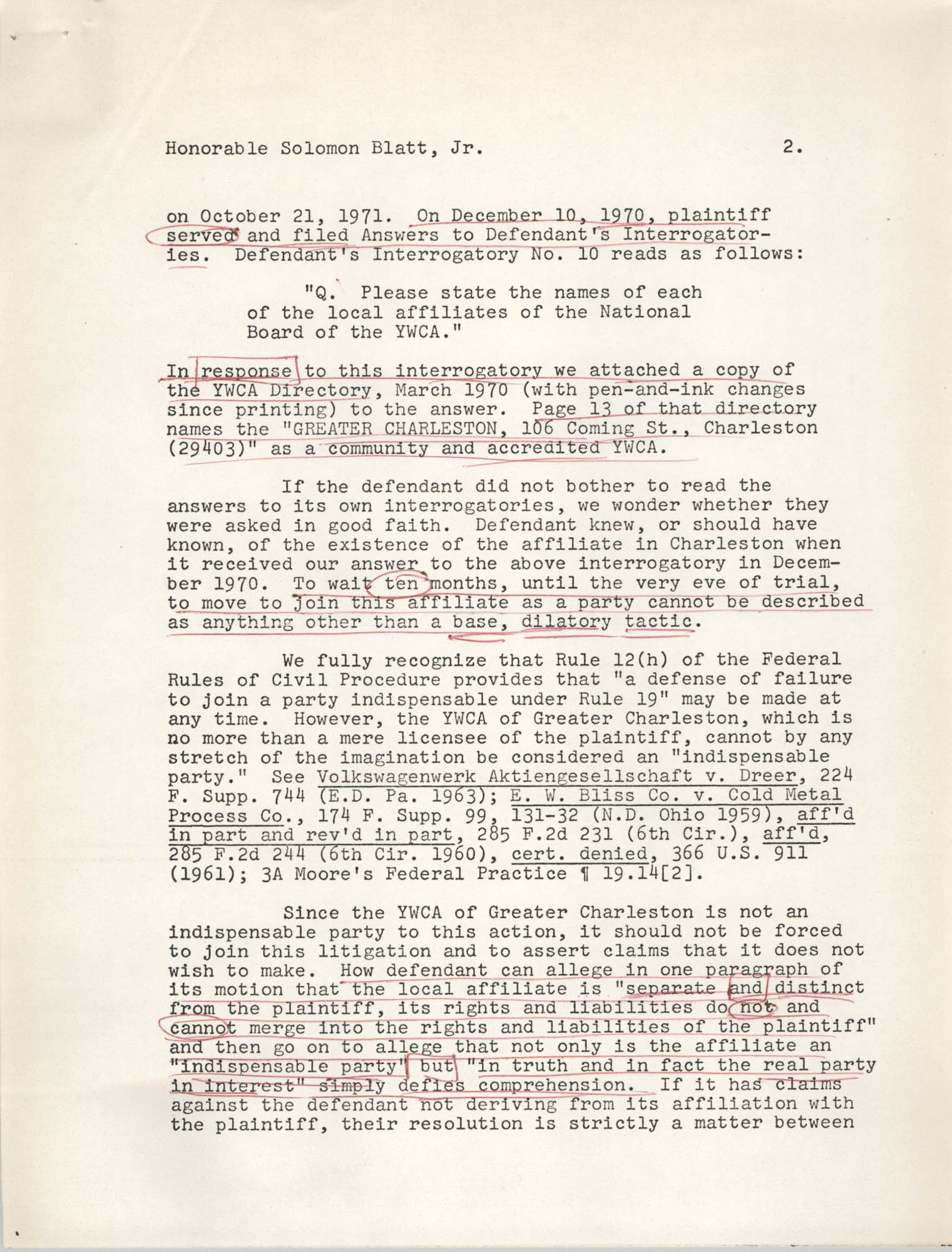 Letter from William C. Pelster to Honorable Solomon Blatt, Jr., October 29, 1971, Page 2