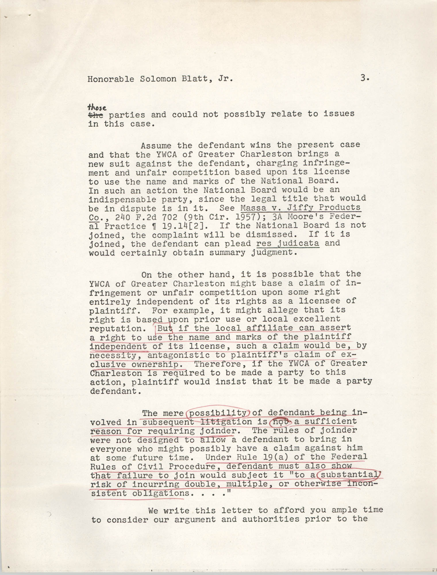 Letter from William C. Pelster to Honorable Solomon Blatt, Jr., October 29, 1971, Page 3