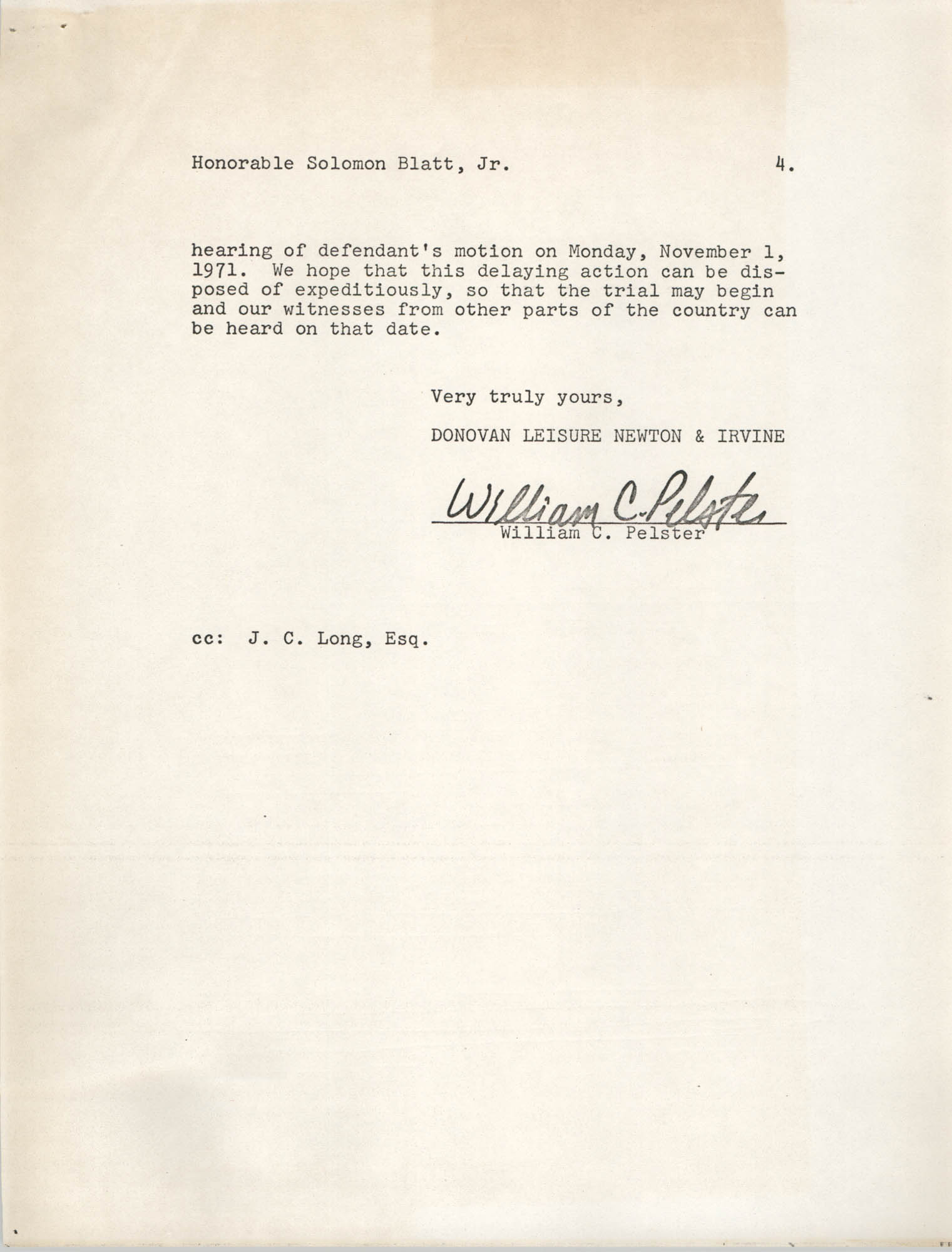 Letter from William C. Pelster to Honorable Solomon Blatt, Jr., October 29, 1971, Page 4